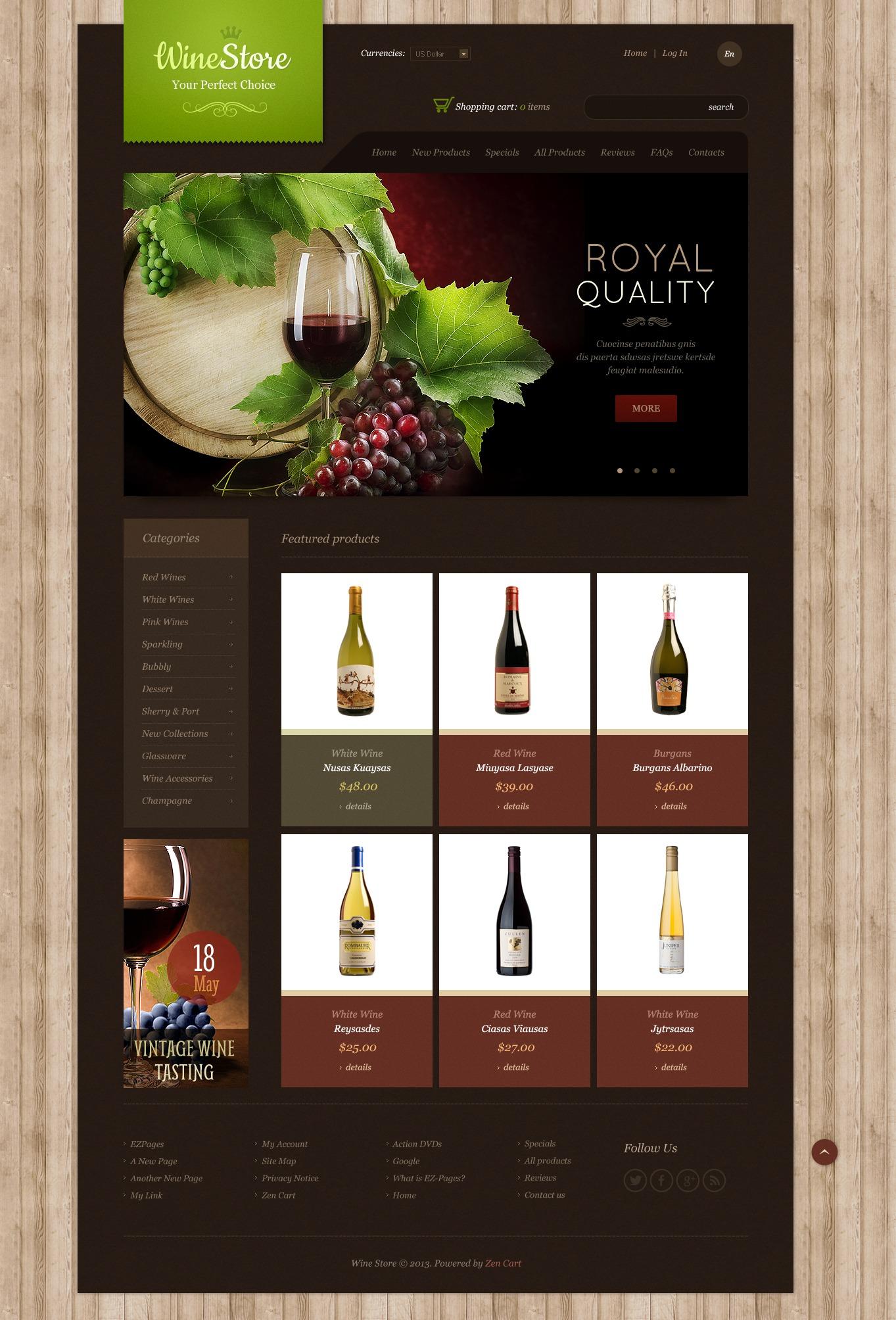 Wine Store ZenCart Template