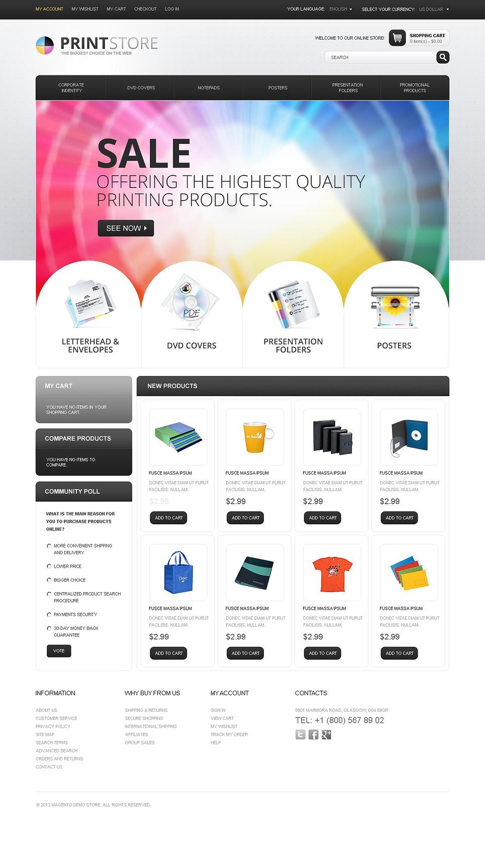 Print Store Magento Theme   ProperHost