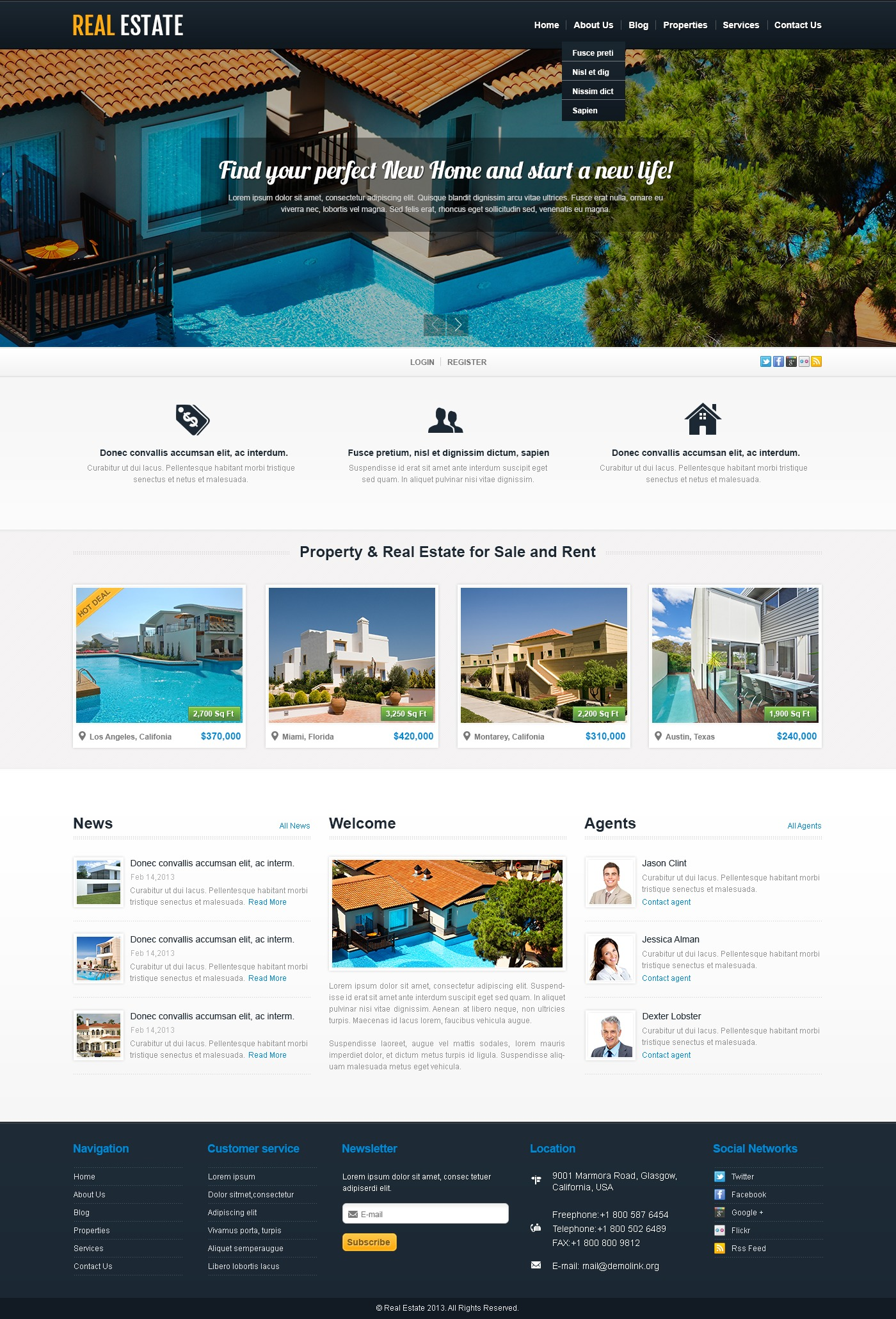 Template 44205 White Real Estate Wordpress Theme Website Brobst Systems