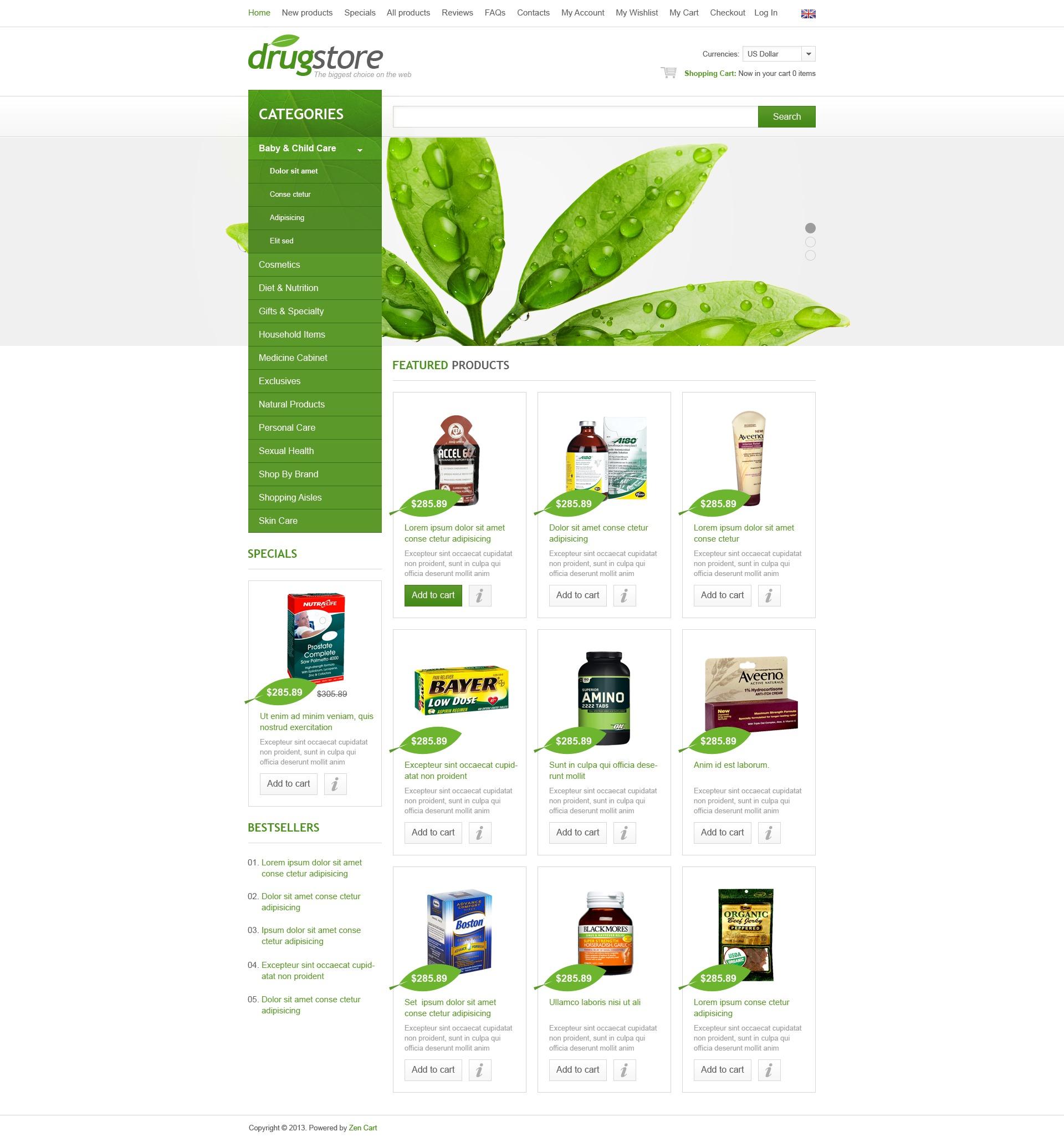 Drugstore ZenCart Template
