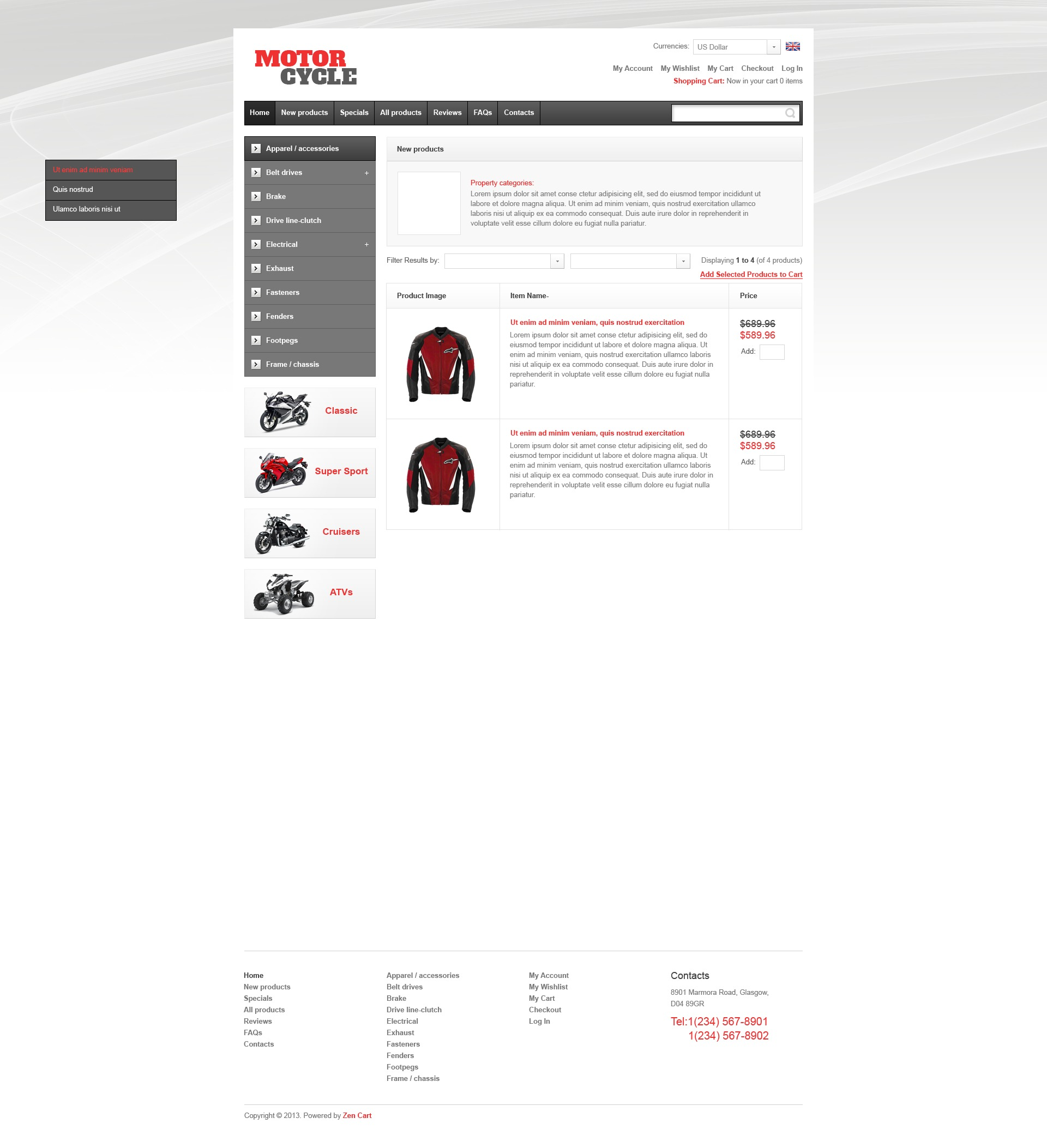 Motorcycle Parts ZenCart Template