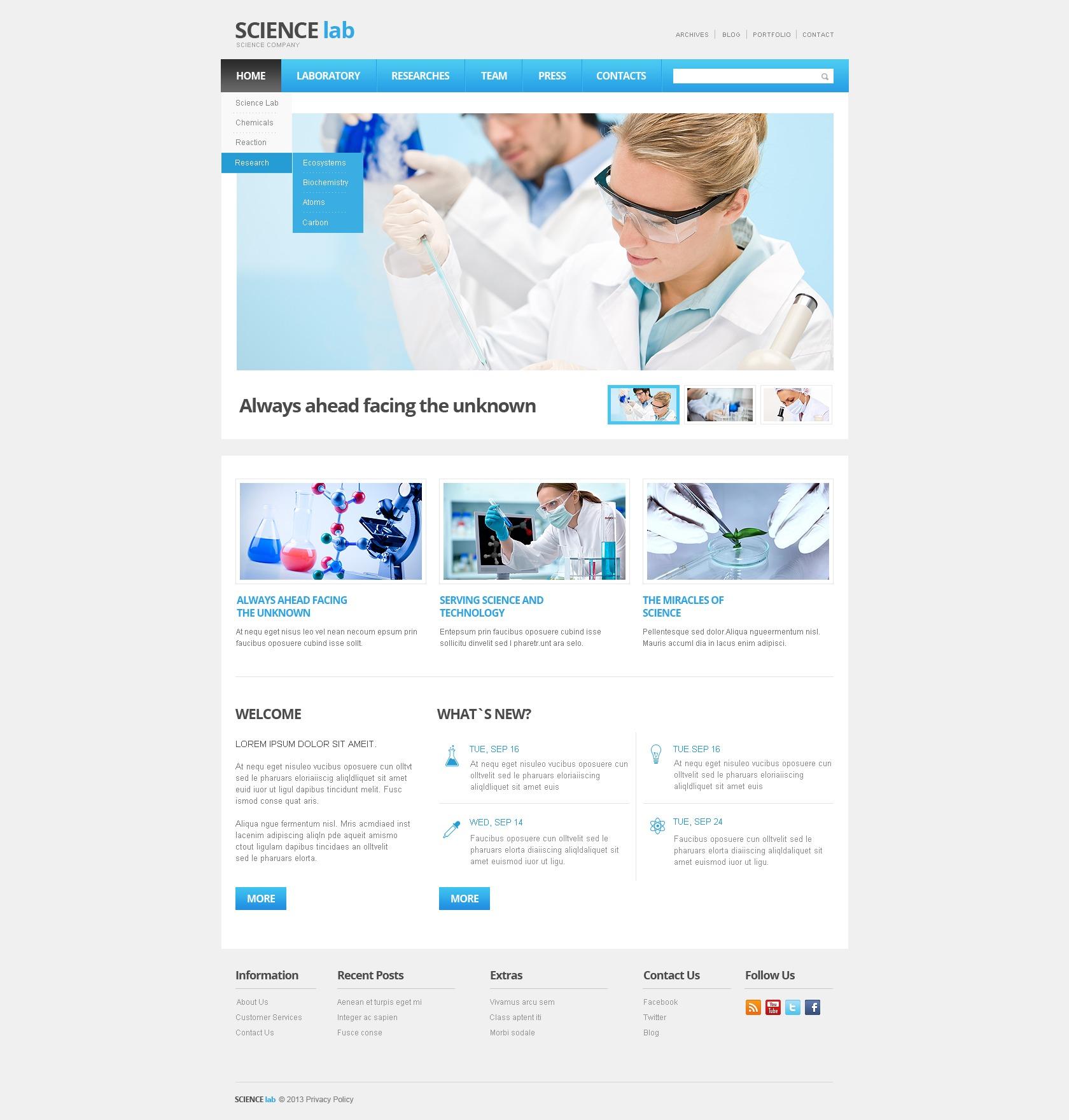 Science Lab Responsive Website Template
