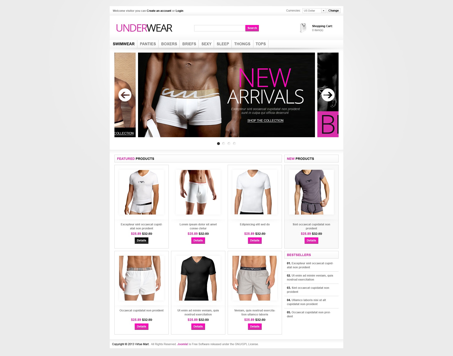 Brand Underwear VirtueMart Template