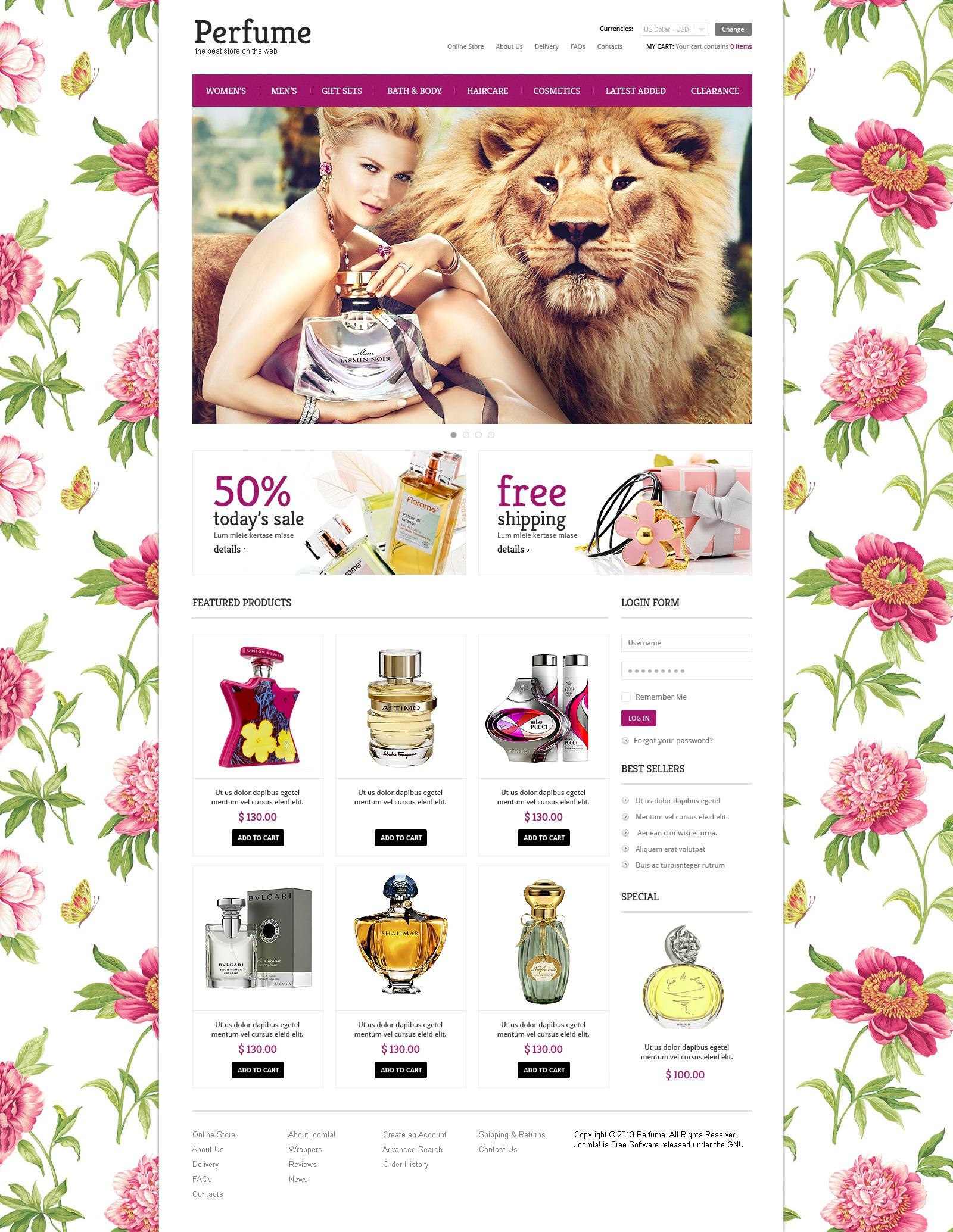 Elite Perfumes Store VirtueMart Template