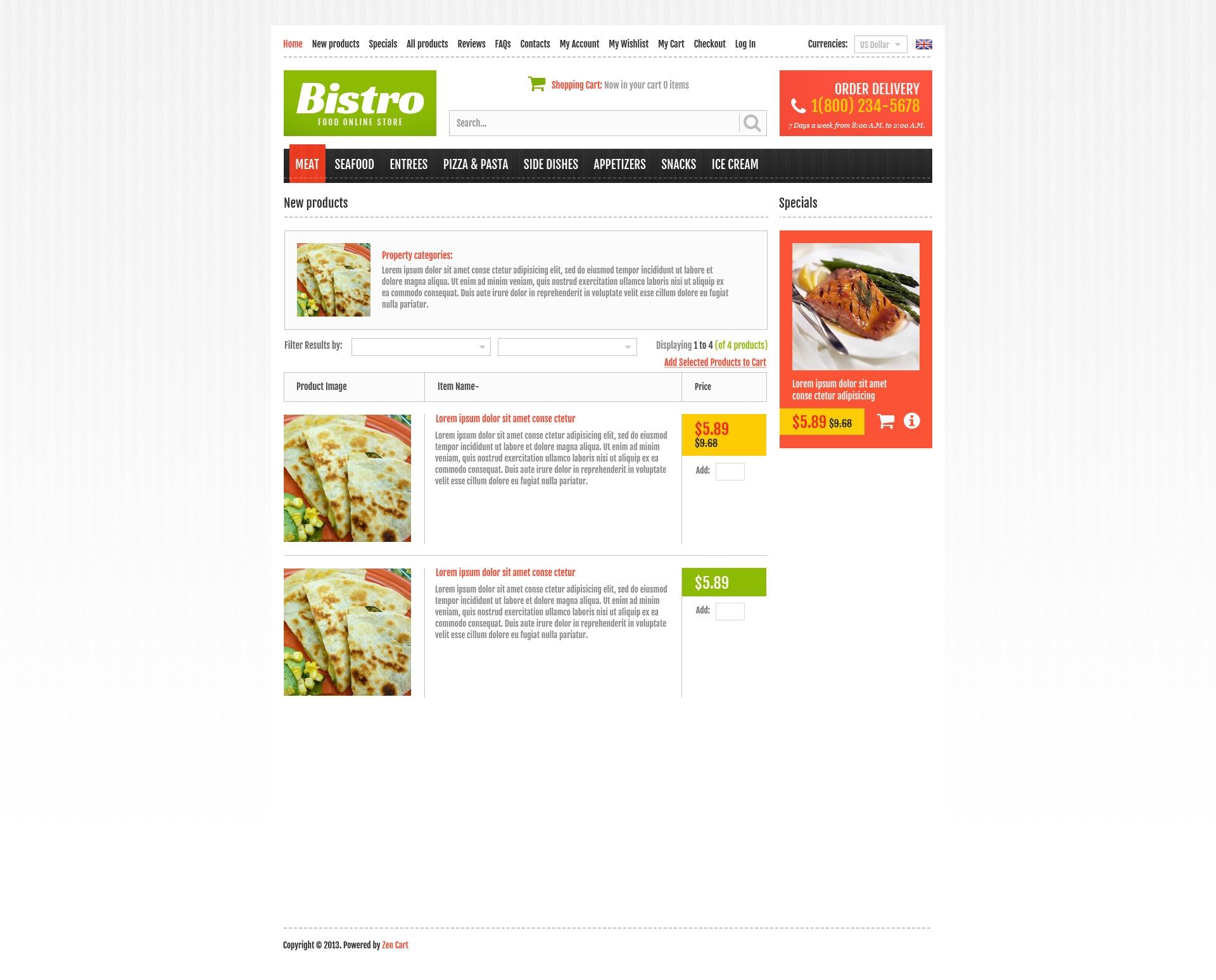 Online Bistro ZenCart Template