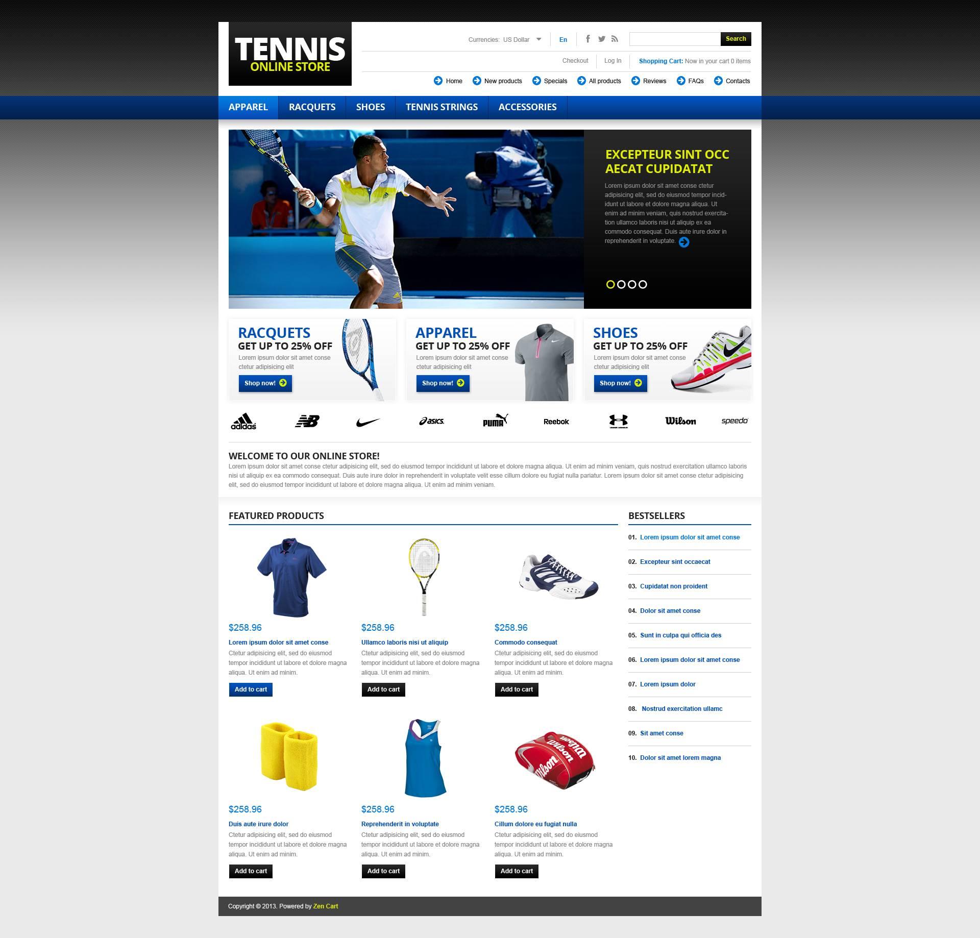 Tennis Store ZenCart Template