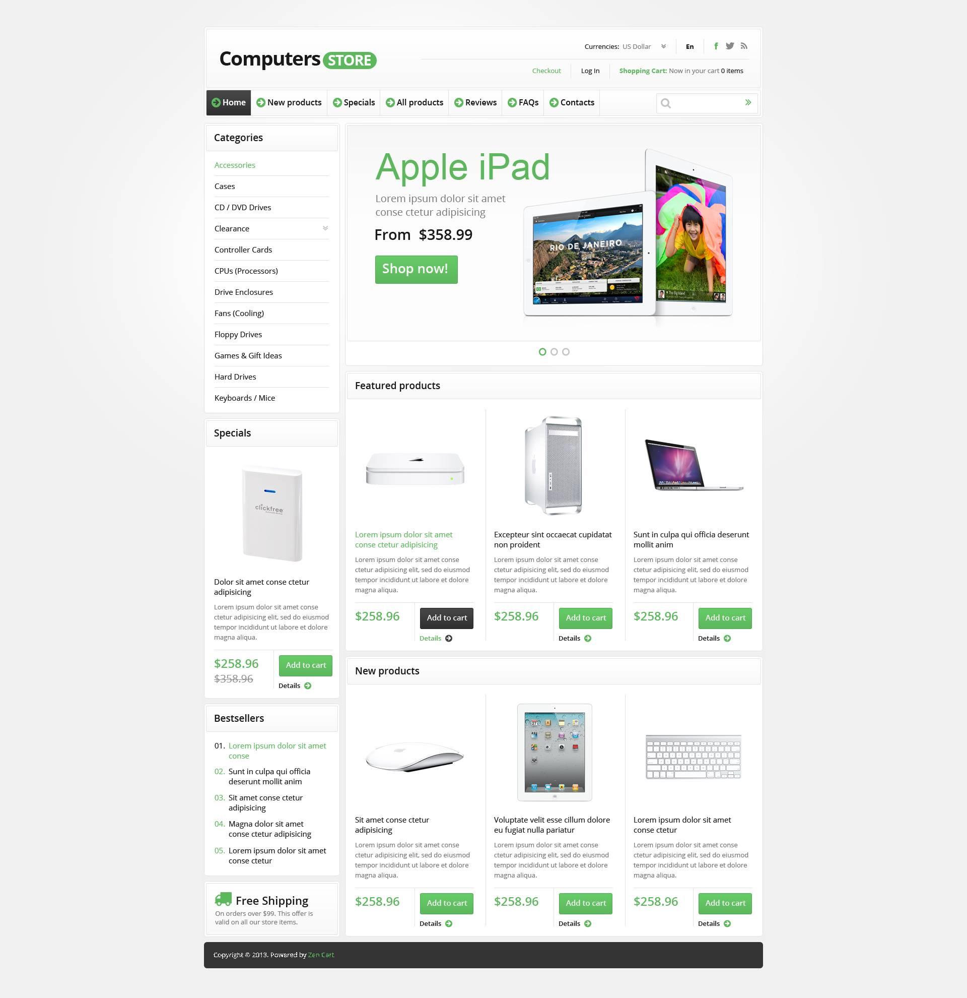 Computers Store ZenCart Template