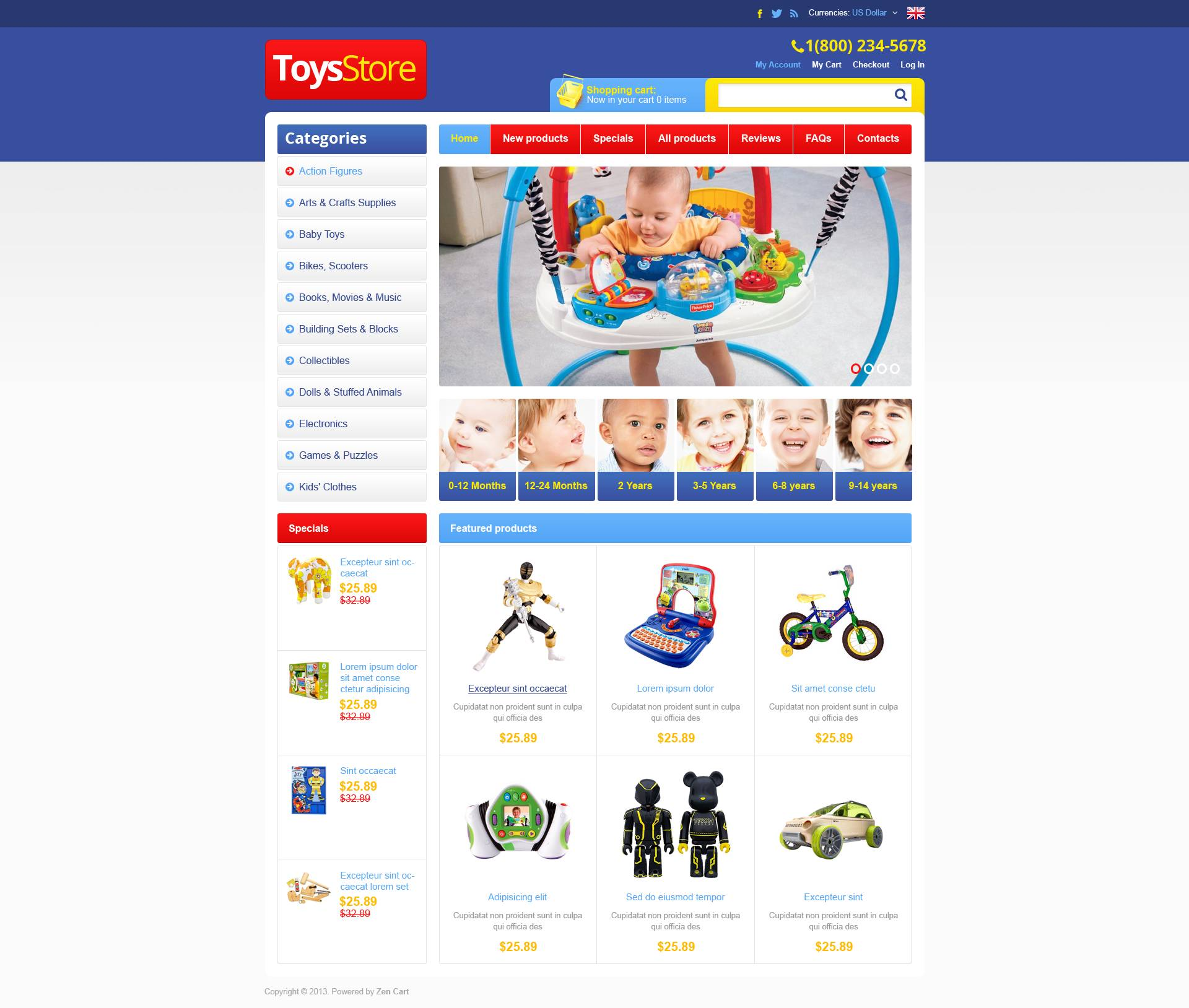 Toys Store ZenCart Template