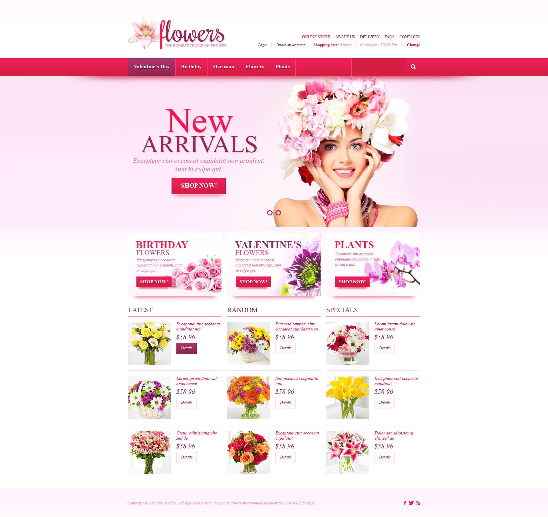 Fresh Flowers VirtueMart Template