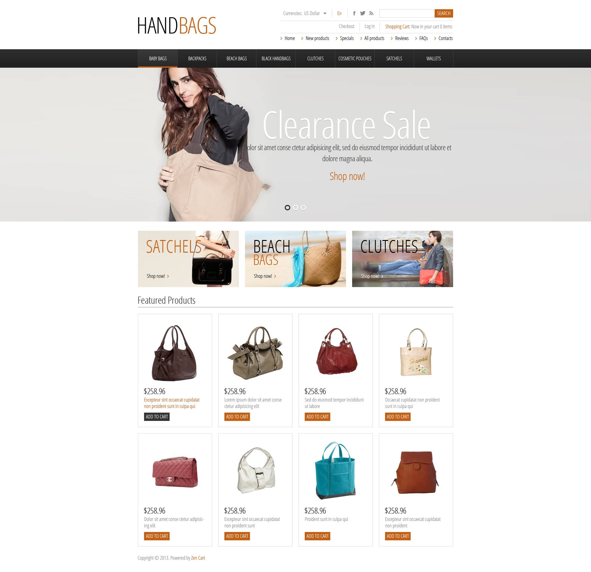 Fashionable Handbags ZenCart Template