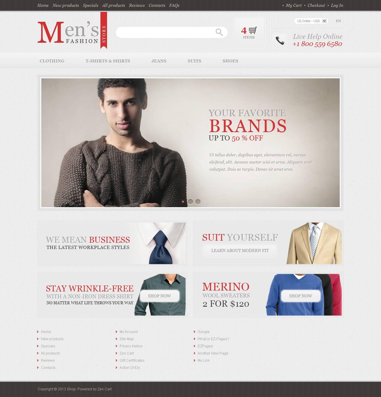 Men's Fashion Store ZenCart Template