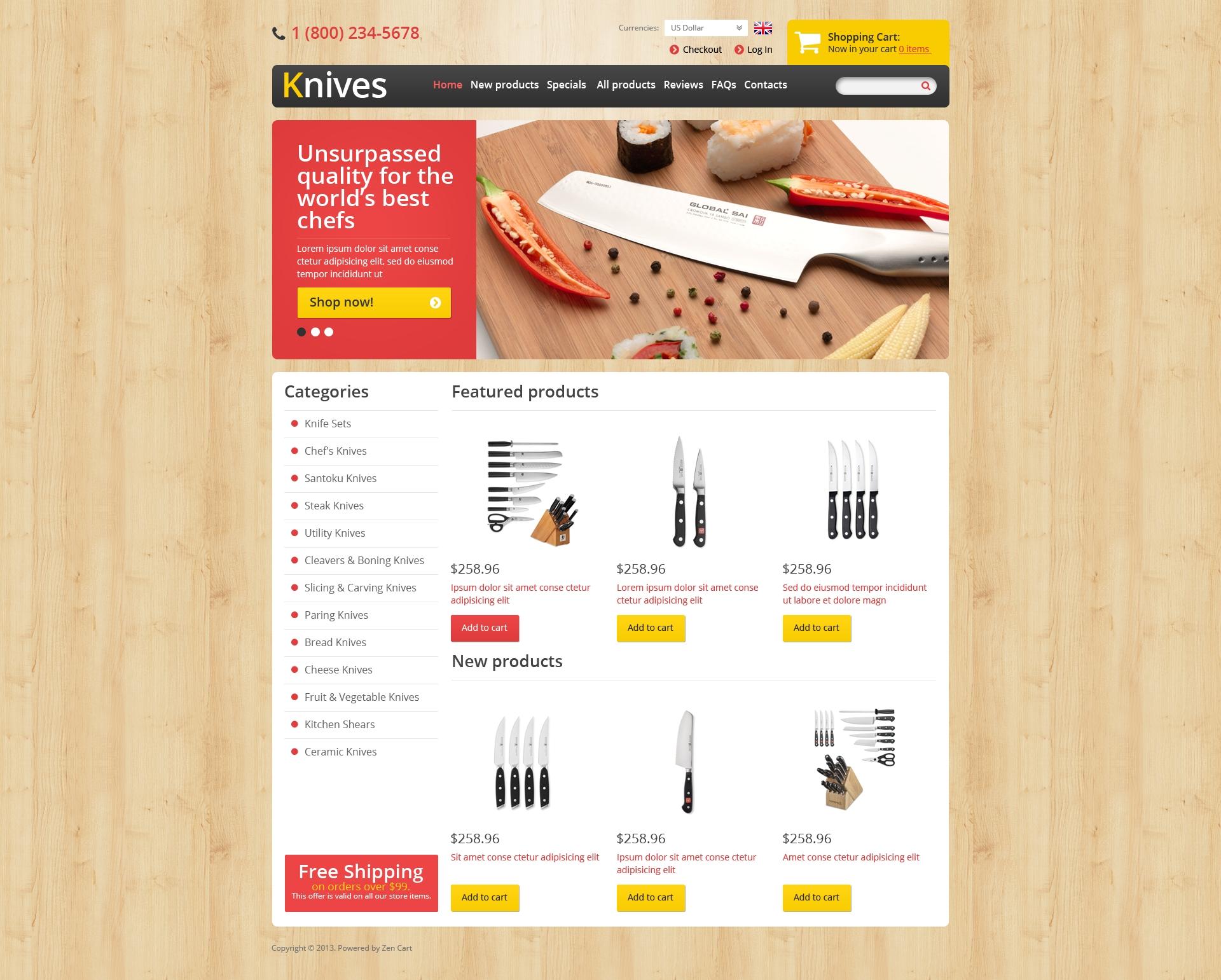 Sharp Knives ZenCart Template