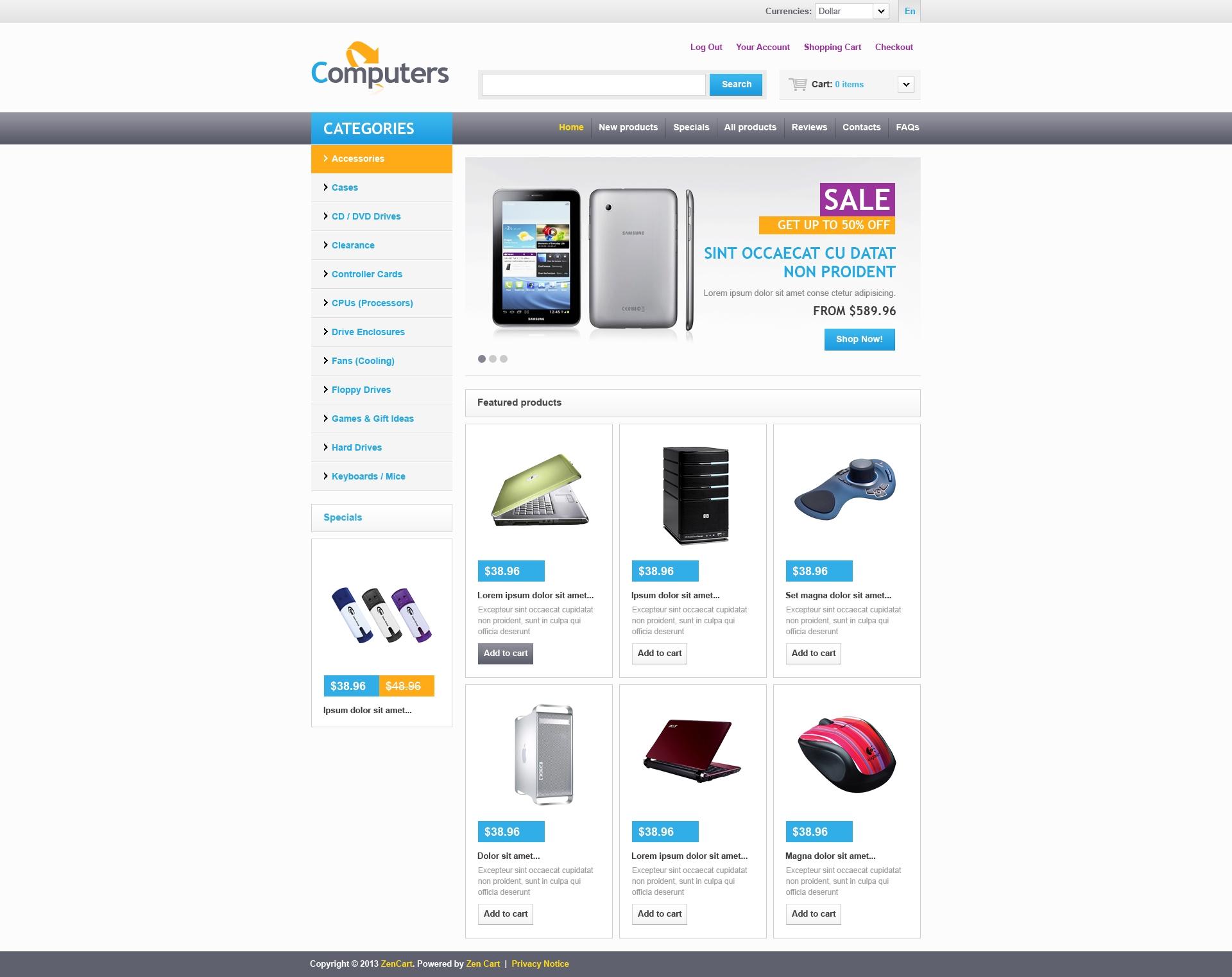 Online Computers Store ZenCart Template