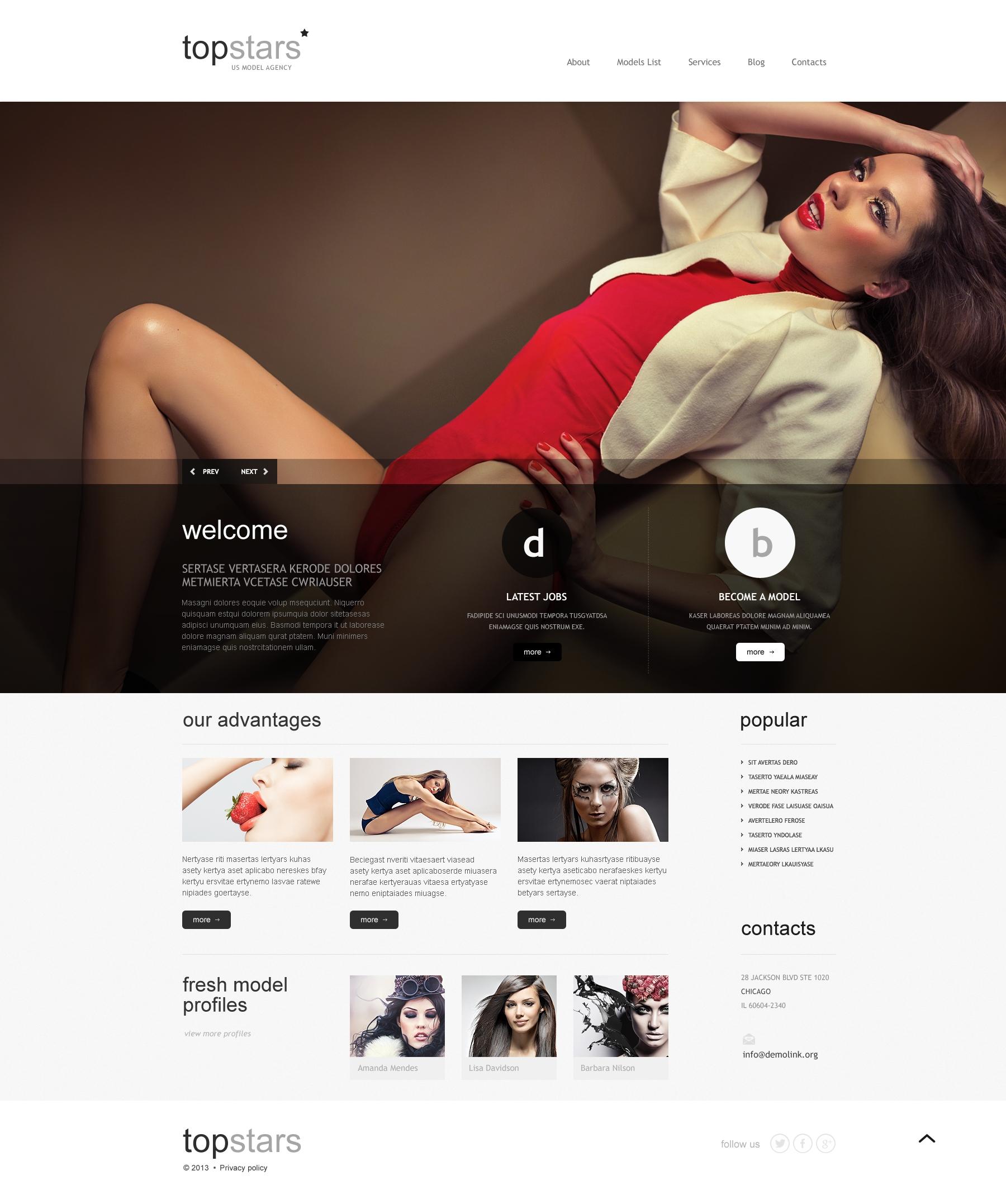 Topstars Model Agency WordPress Theme