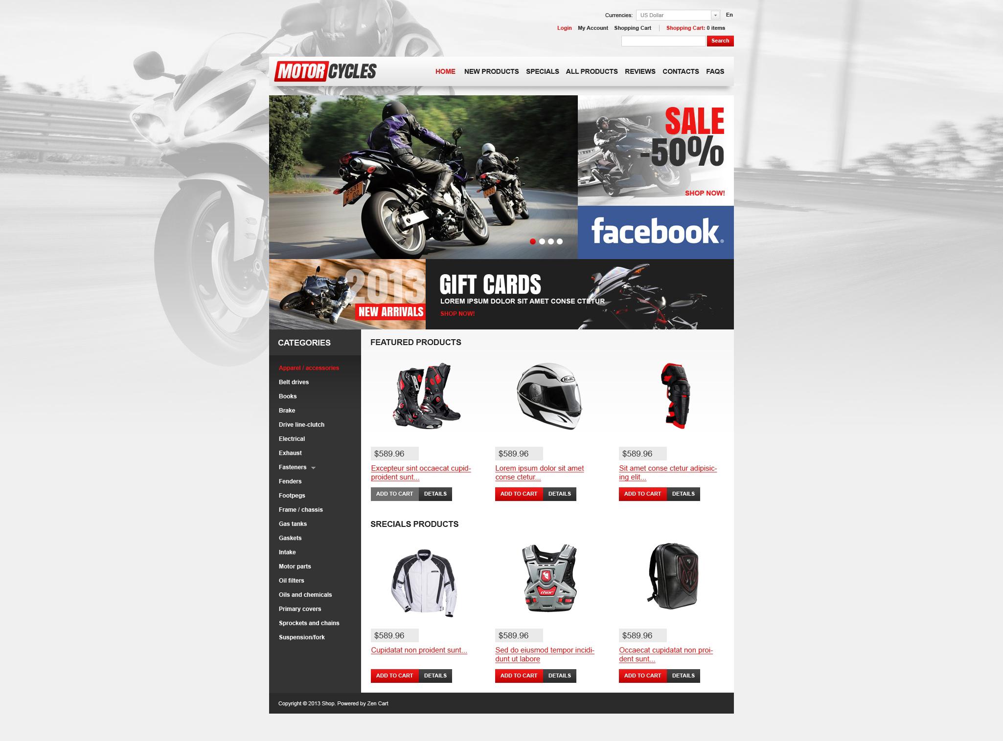 Motorcycles Store ZenCart Template