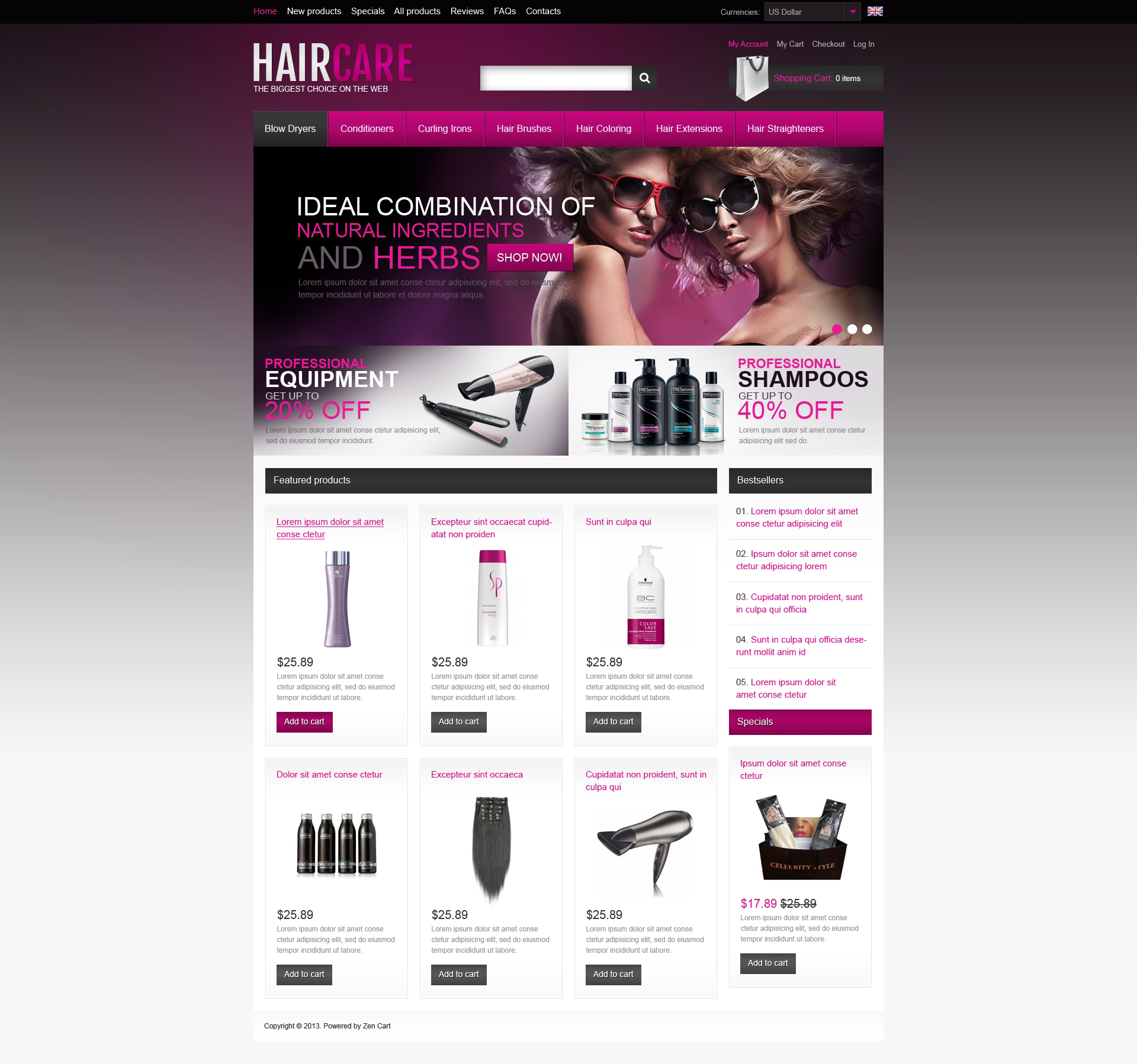 Haircare Products ZenCart Template