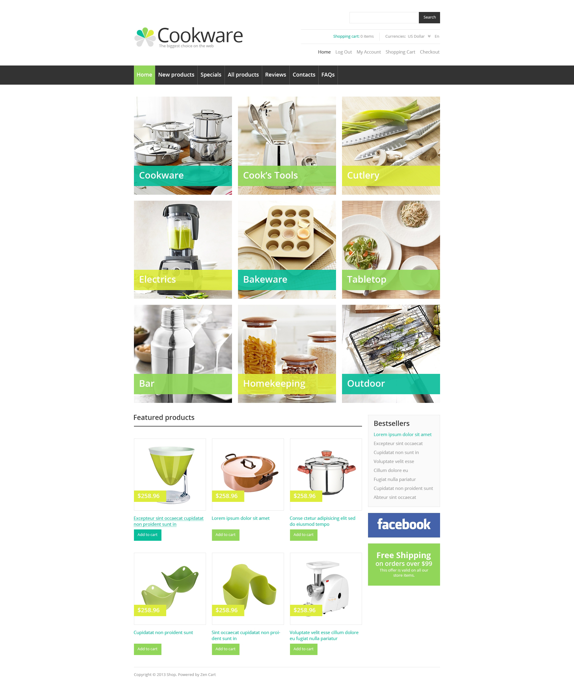 Cookware ZenCart Template