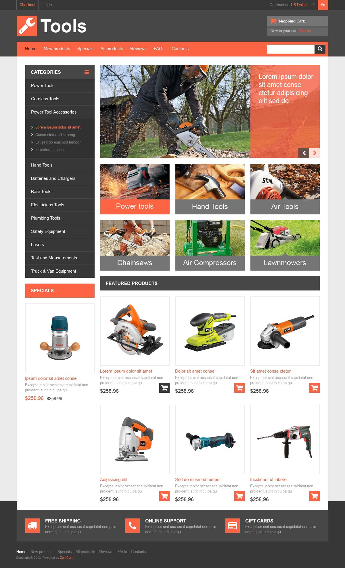 Multi-Purpose Tools ZenCart Template