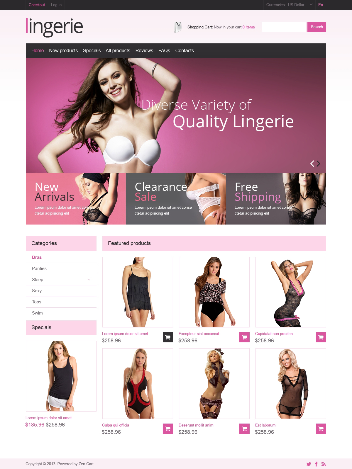 Female Lingerie ZenCart Template