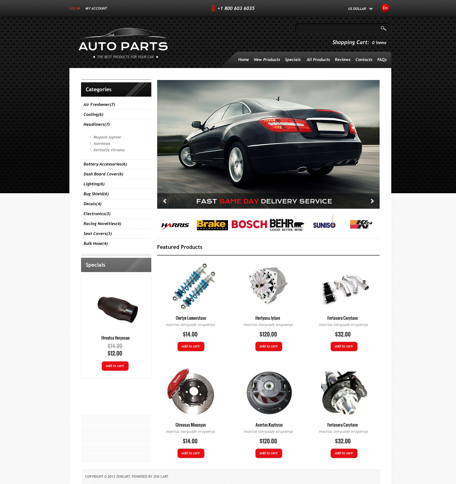Auto Parts ZenCart Template
