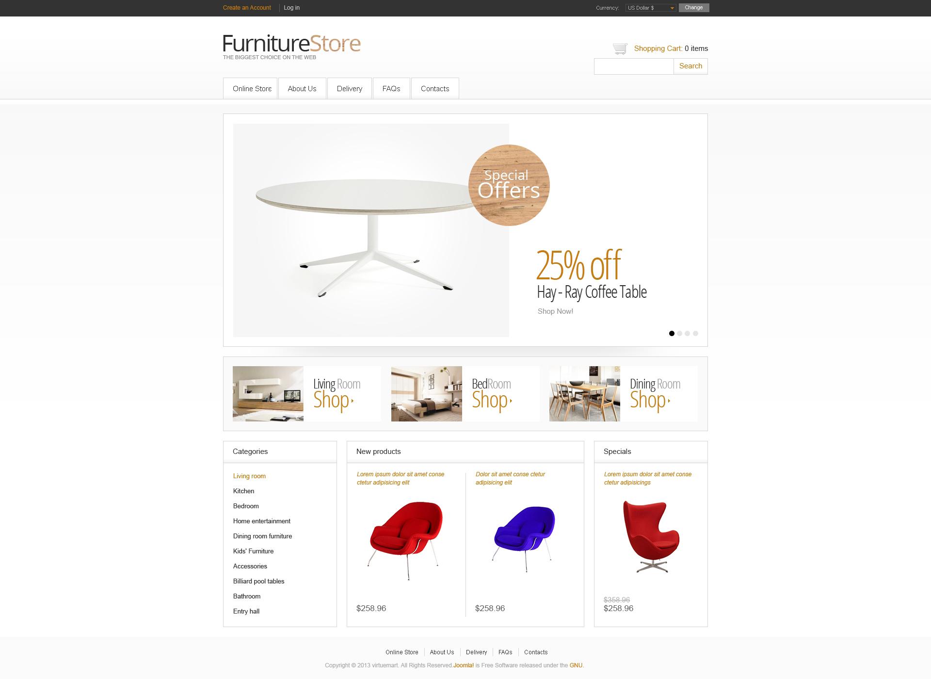 Minimalistic Furniture Store VirtueMart Template
