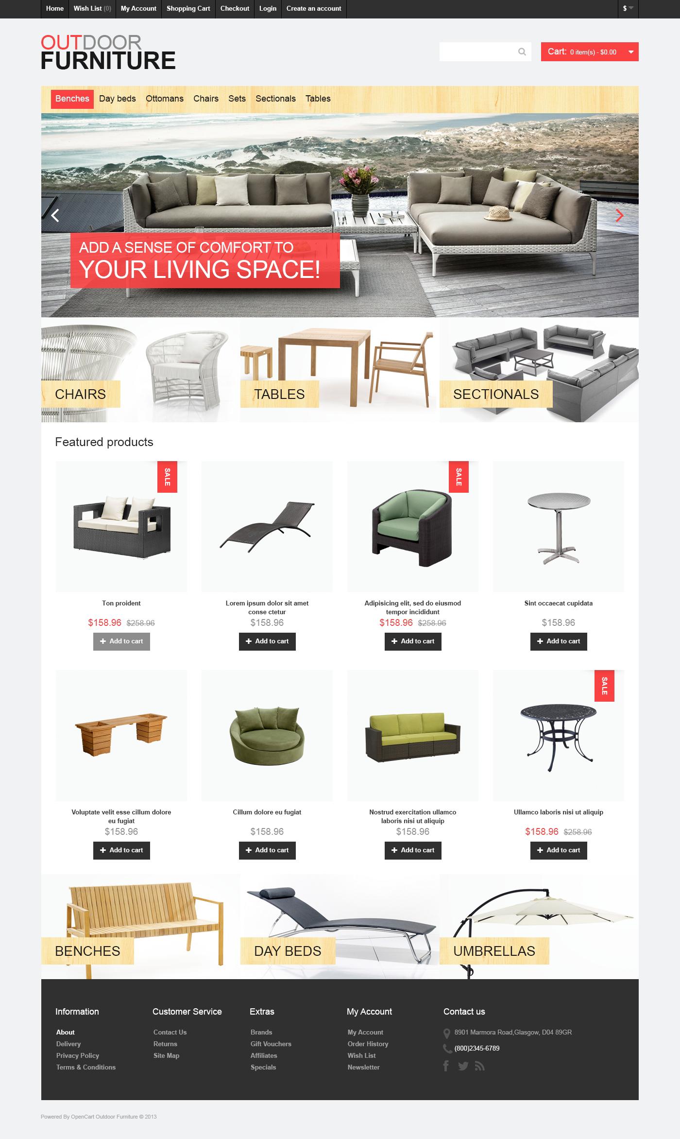 Outdoor Furniture OpenCart Template
