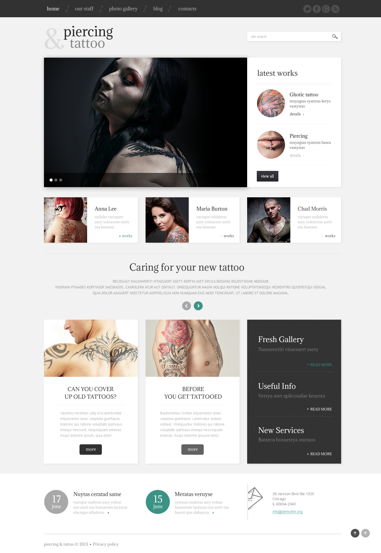 Tattoo Beauty Salon WordPress Theme