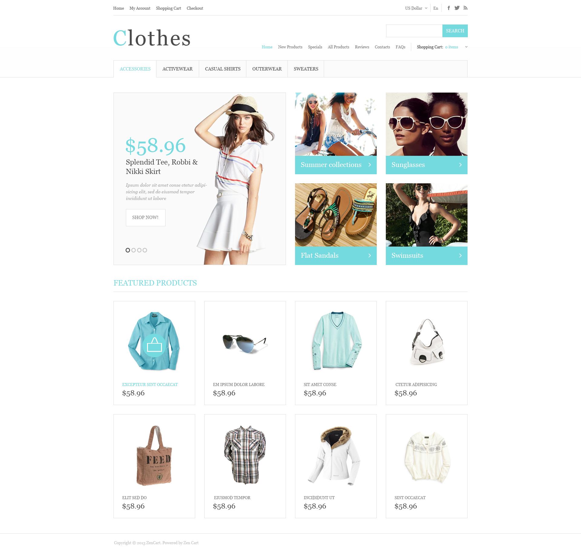 Summer Clothing ZenCart Template
