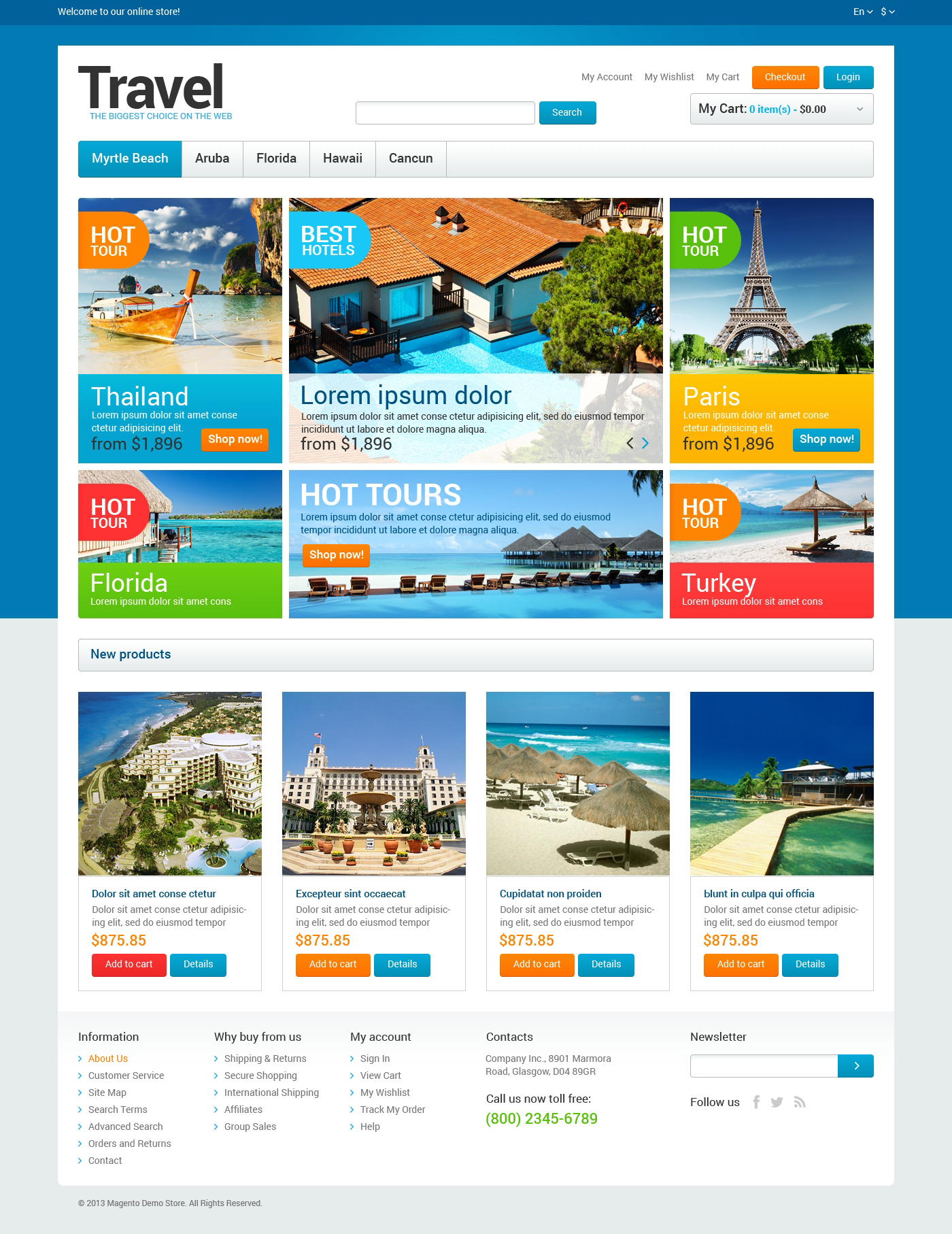 Travel Agency Store Magento Theme