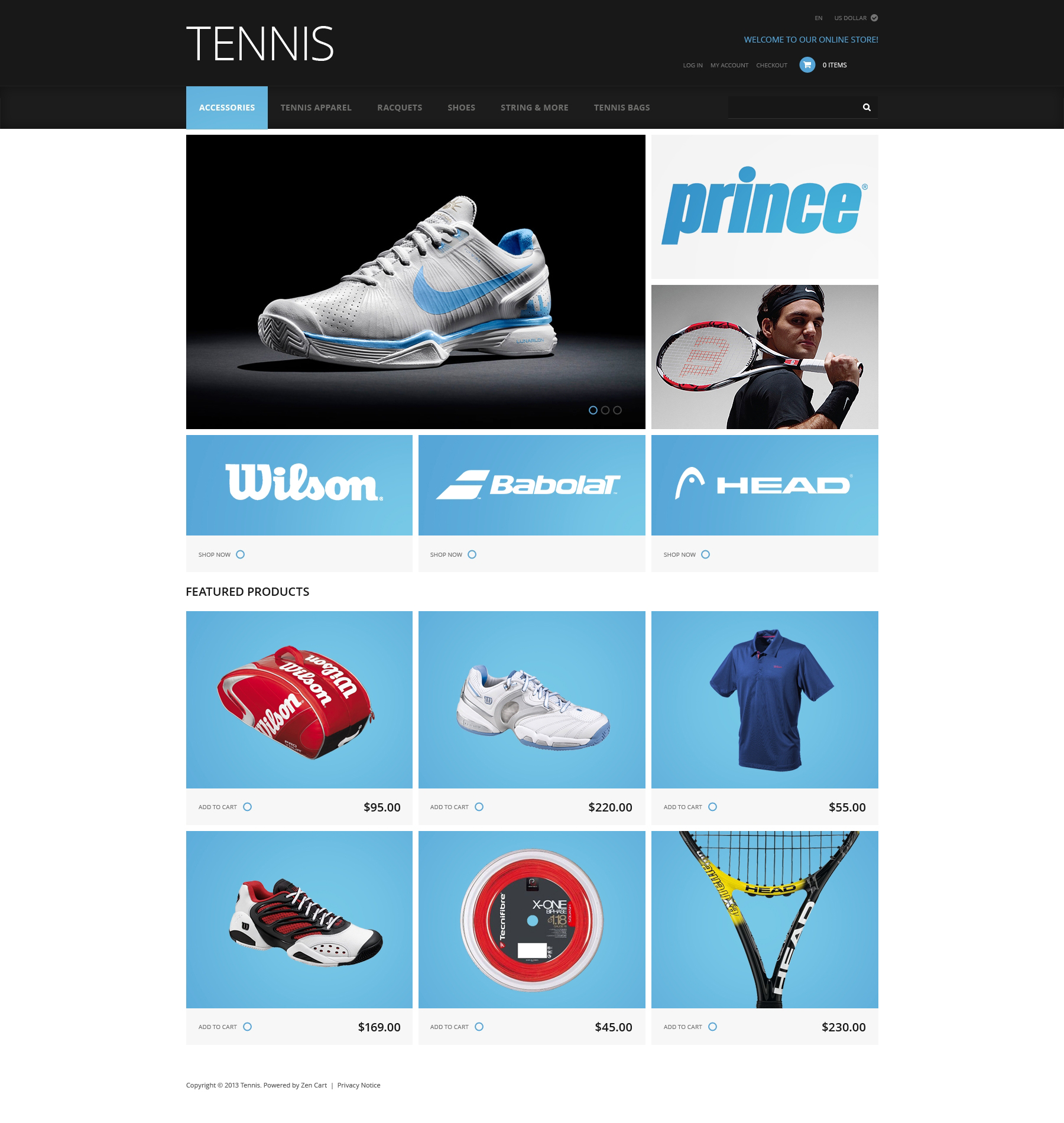 Tennis Accessories ZenCart Template