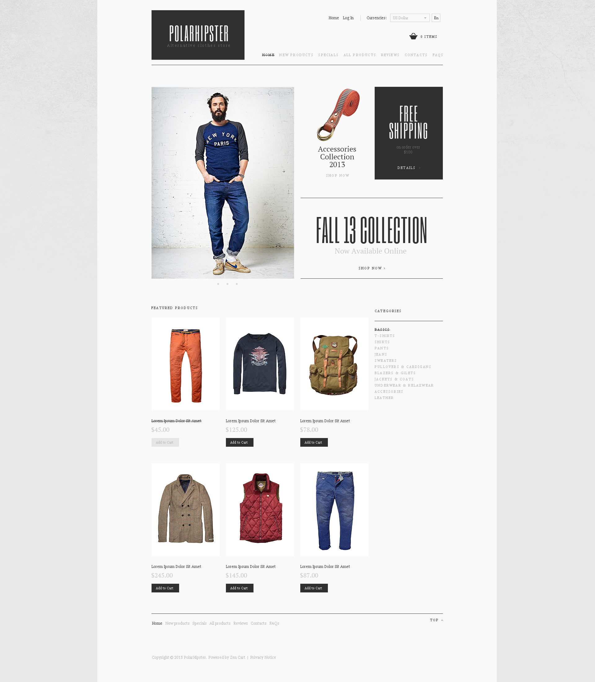 Hipster Dressed ZenCart Template