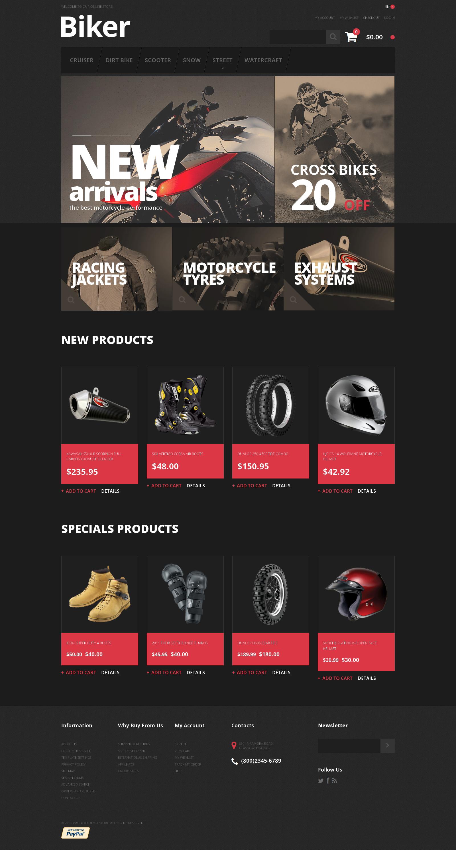 Biker's Store Magento Theme