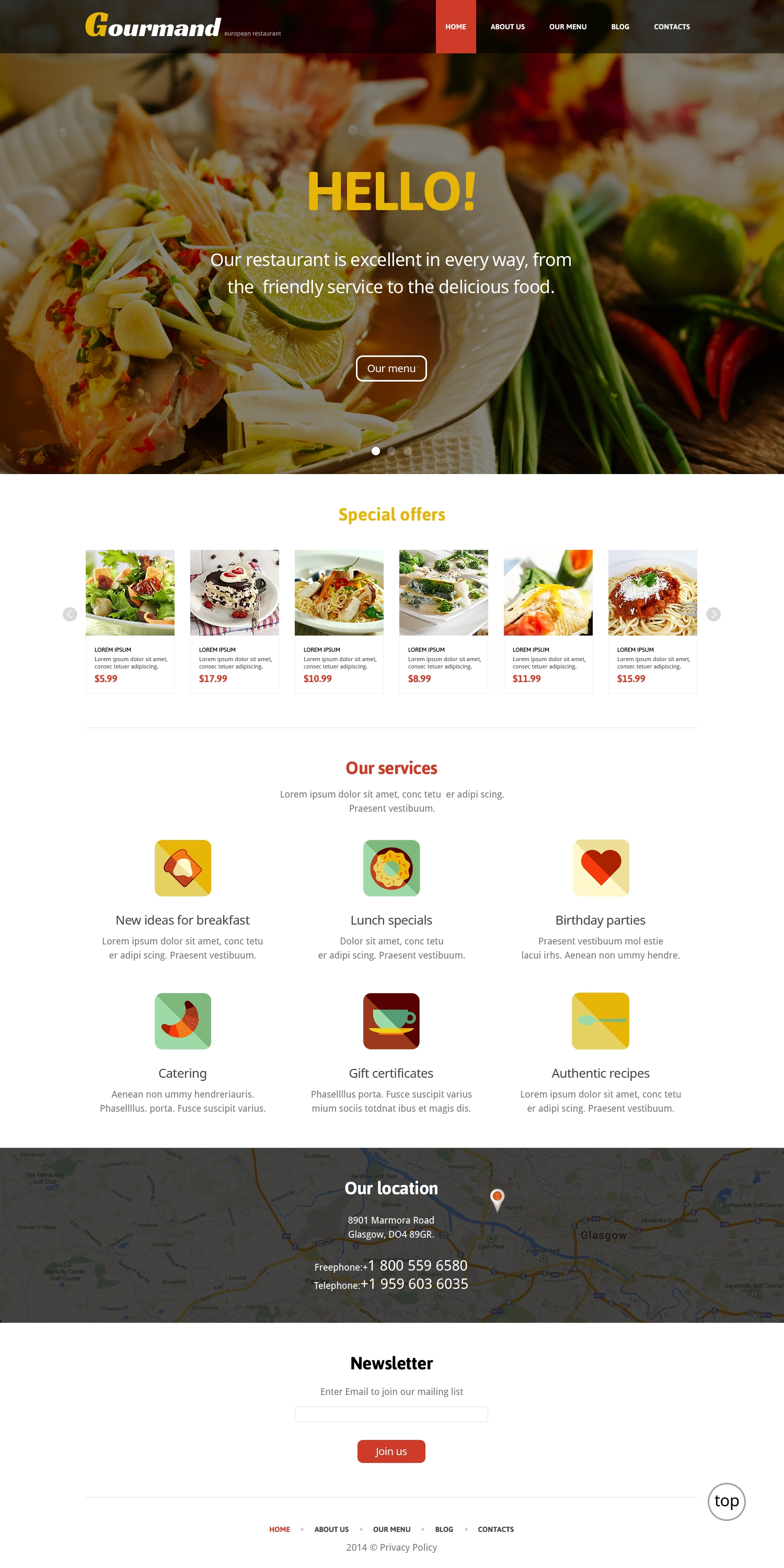 Gourmet Restaurant WordPress Theme
