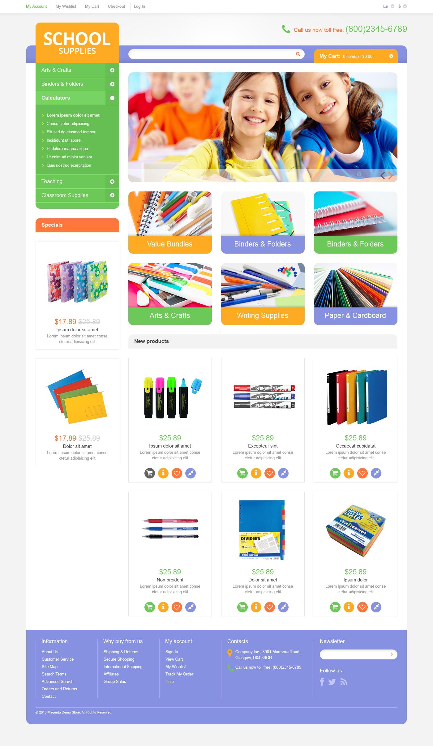Educational  School Supplies Magento Theme