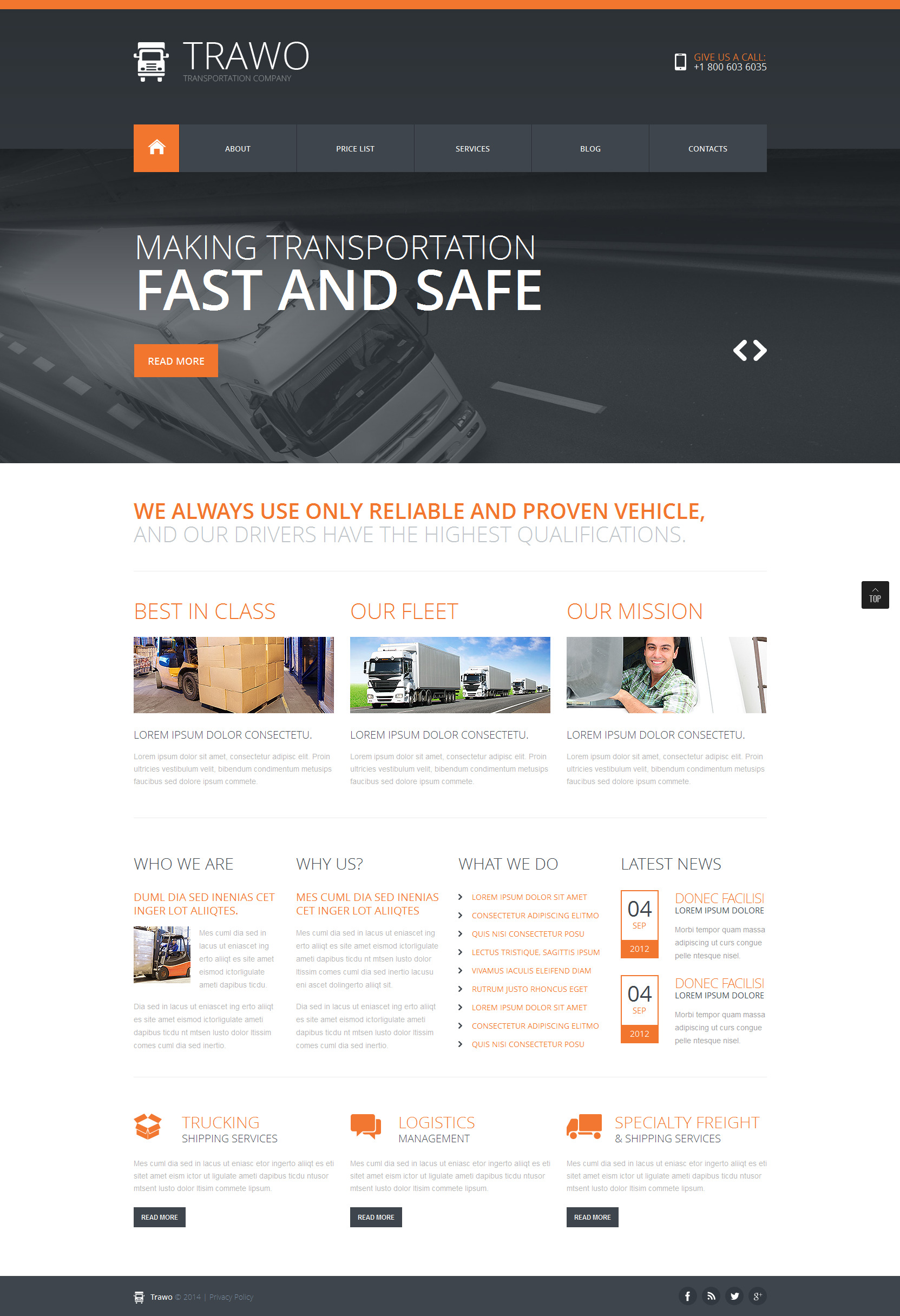 The Fastest Transportation Joomla Template