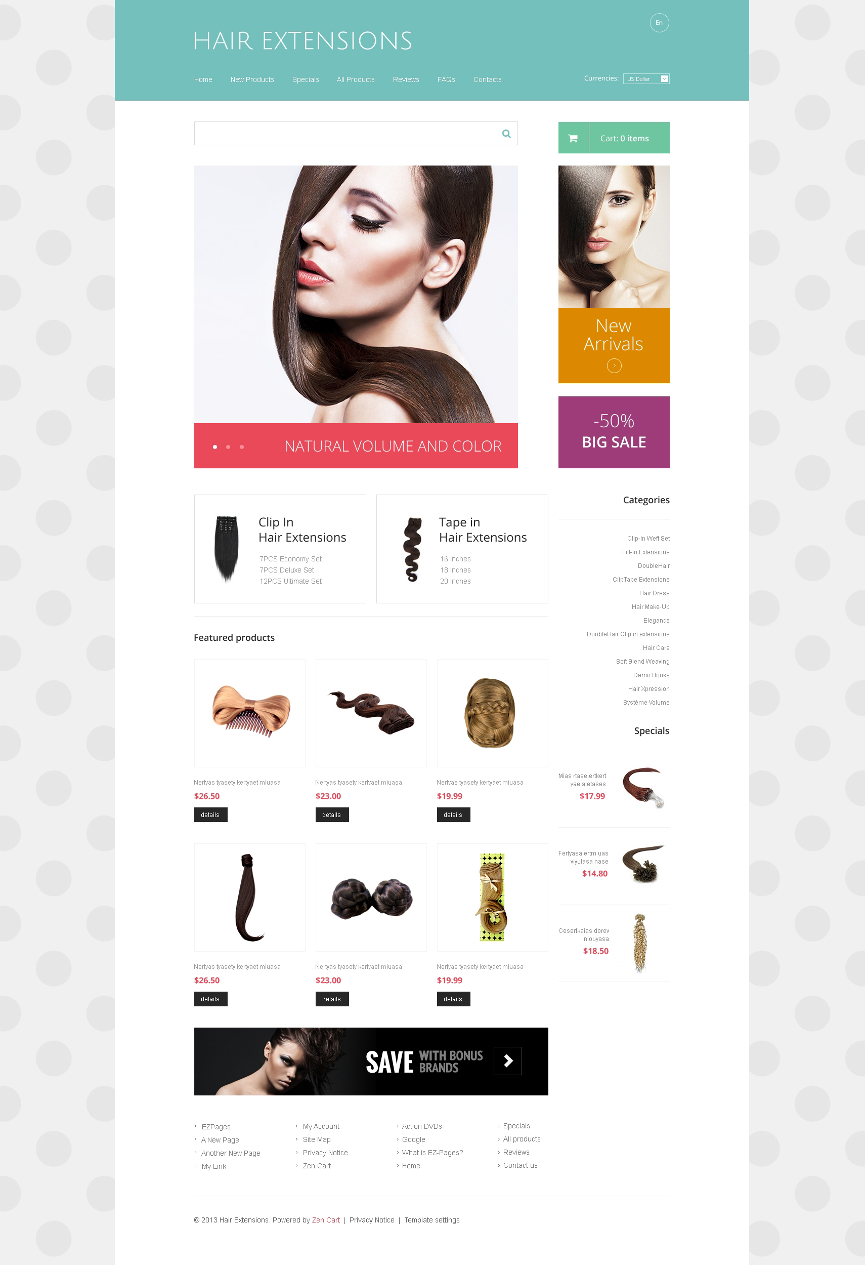 Hair Extensions ZenCart Template