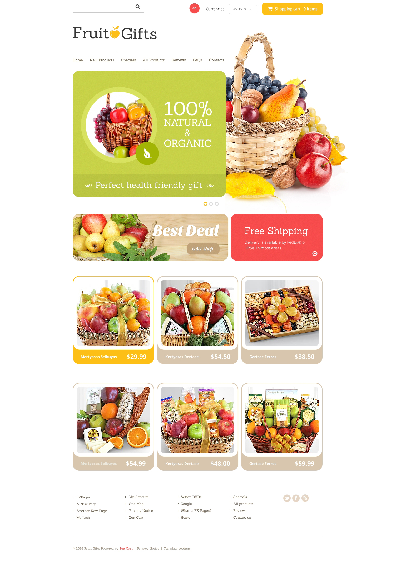 Fruit Gifts ZenCart Template
