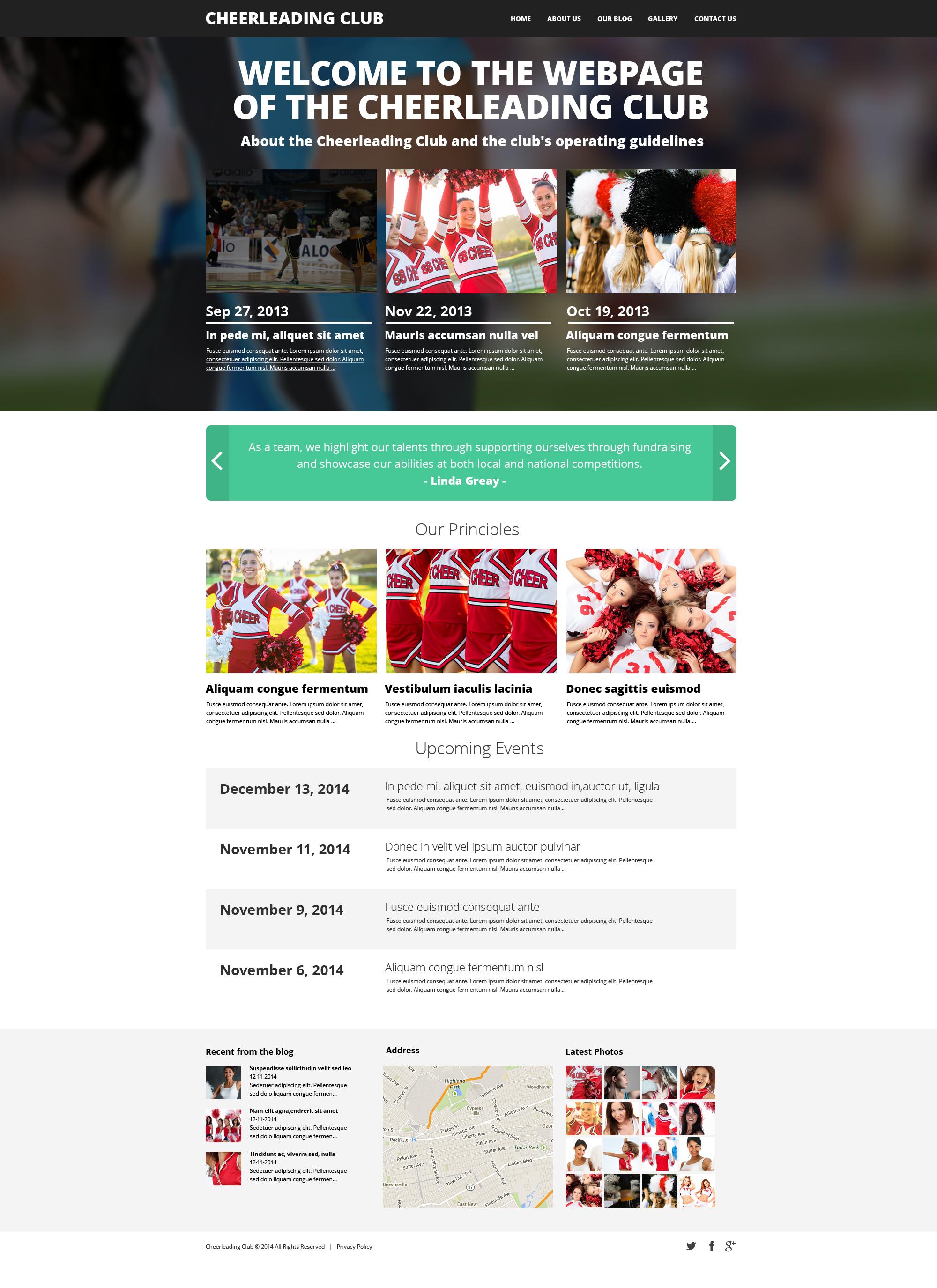 Cheerleading Club Drupal Template