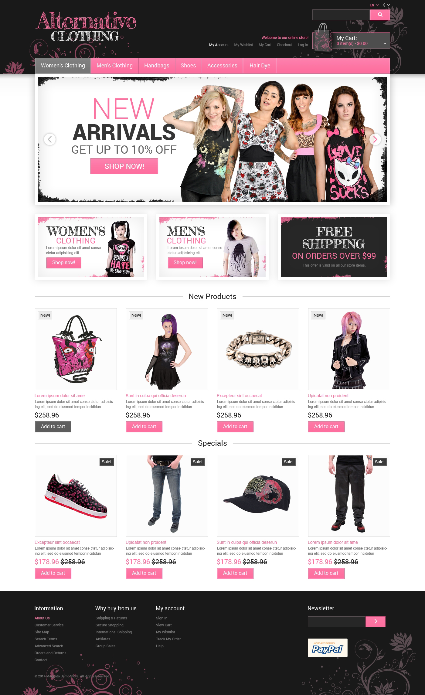 Alternative Clothing Store Magento Theme