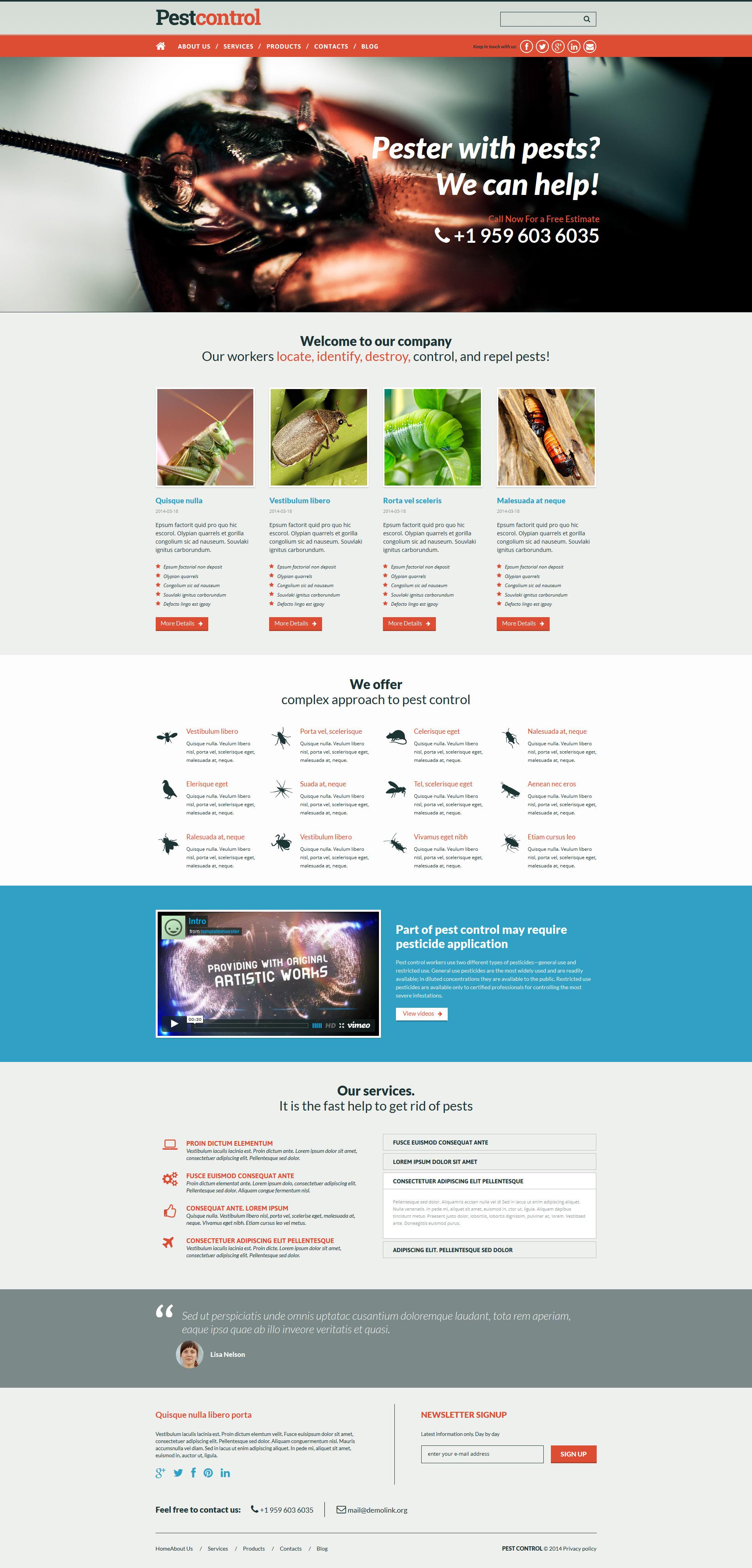 Pest Control Responsive Joomla Template