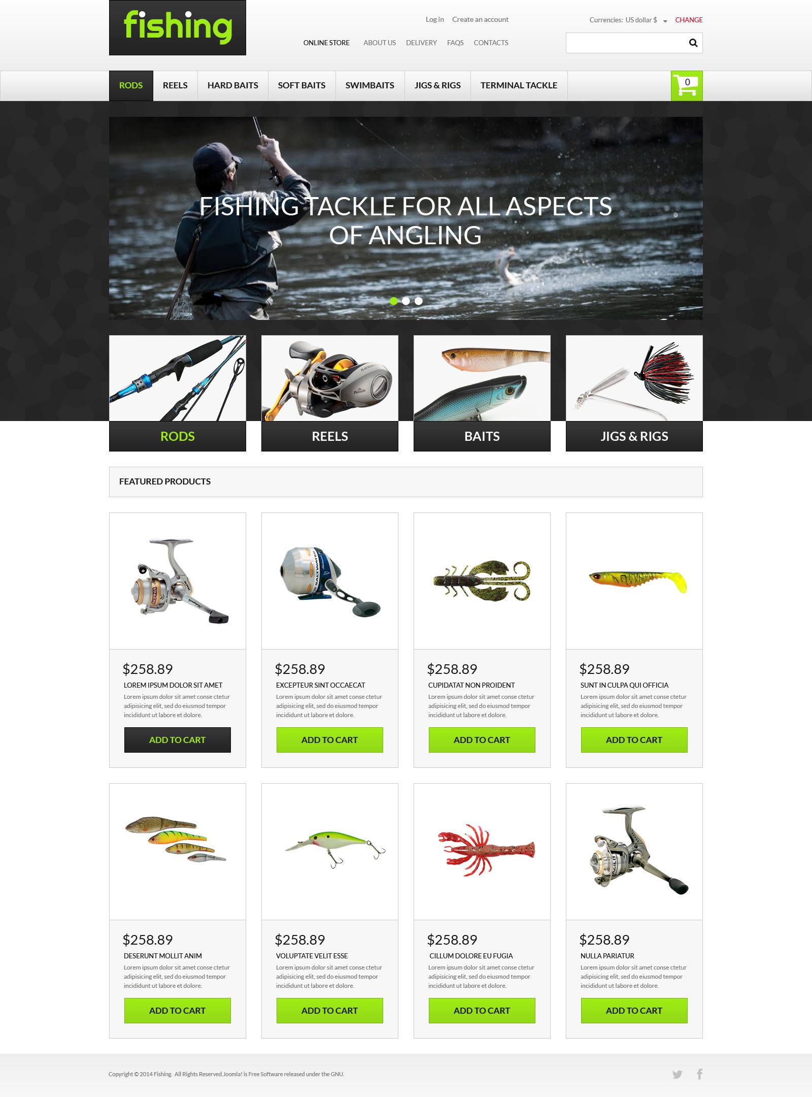 Varity of Fishing Equipment VirtueMart Template