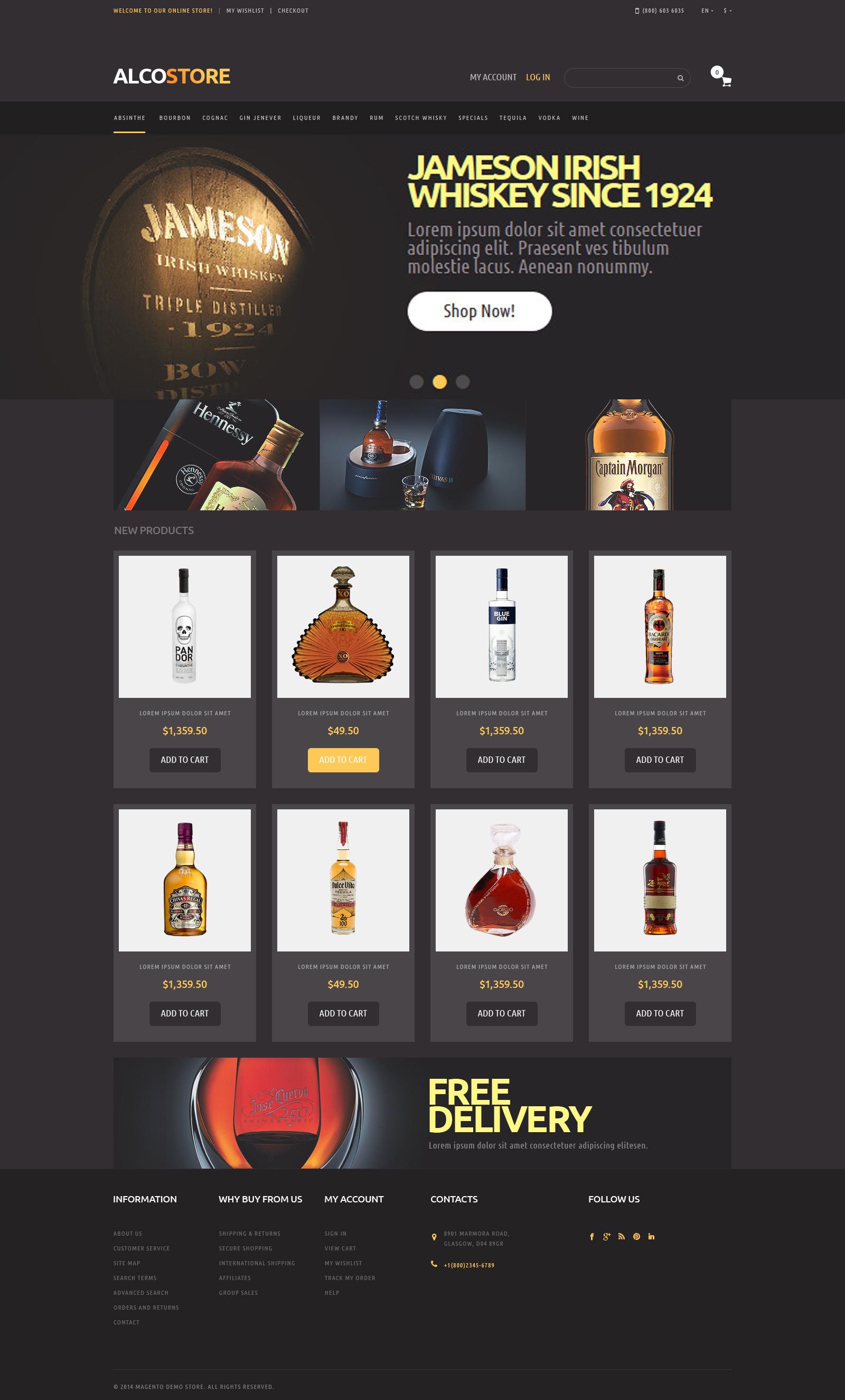Alcoholic Beverages Magento Theme