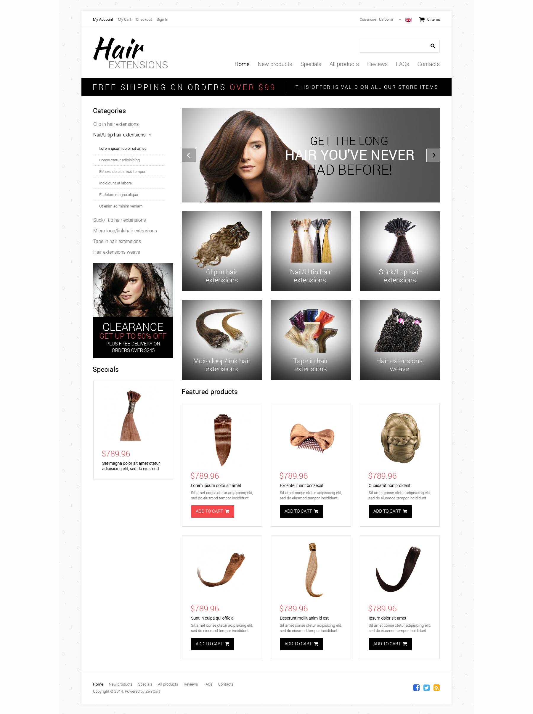 Hair Salon ZenCart Template