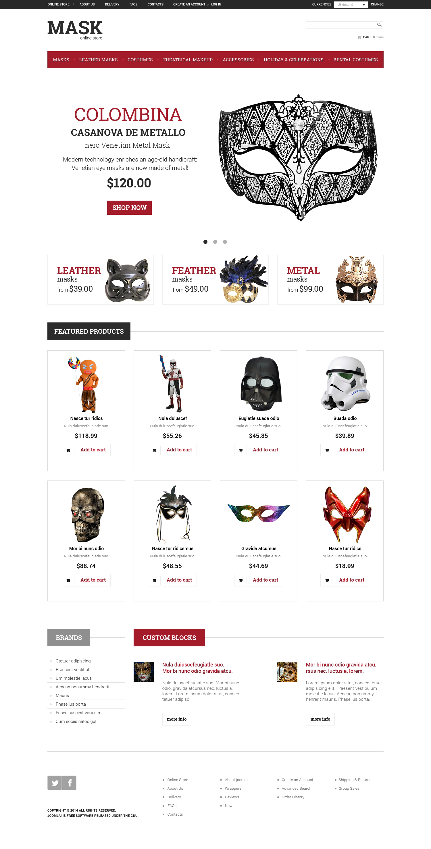 Masquerade Mask VirtueMart Template