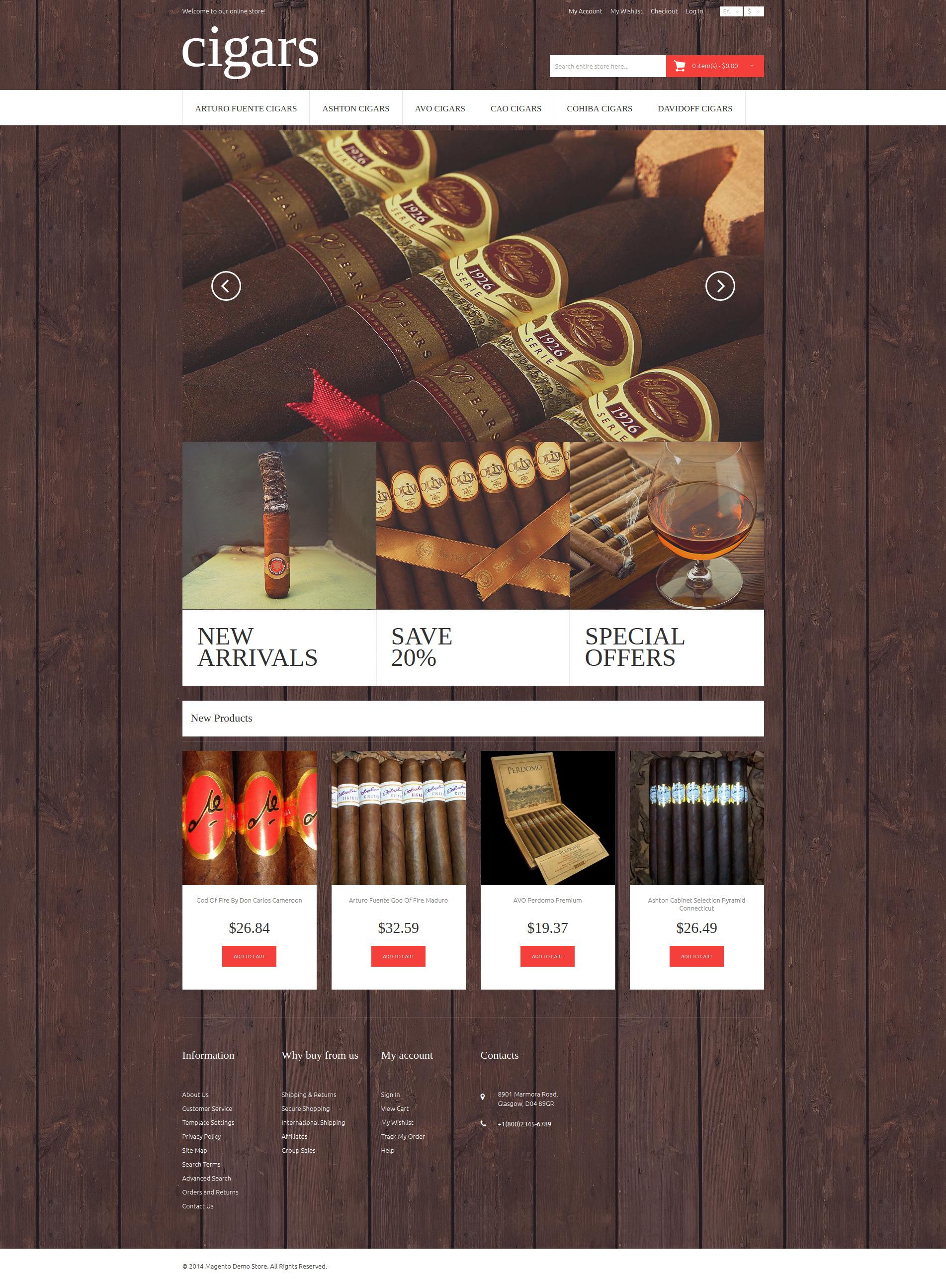 Cigar Flavor Magento Theme