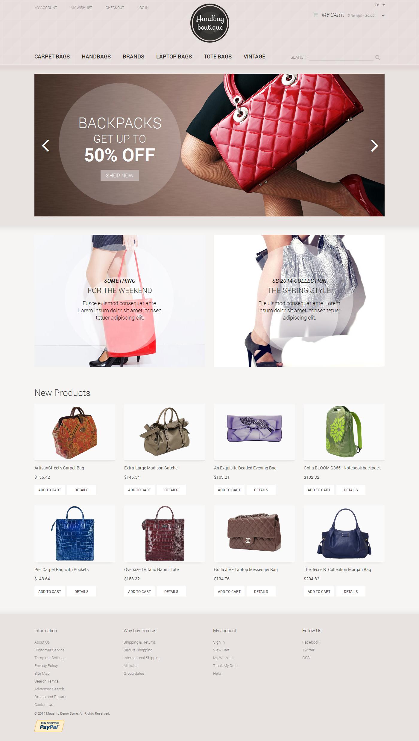 Handbag Boutique Magento Theme