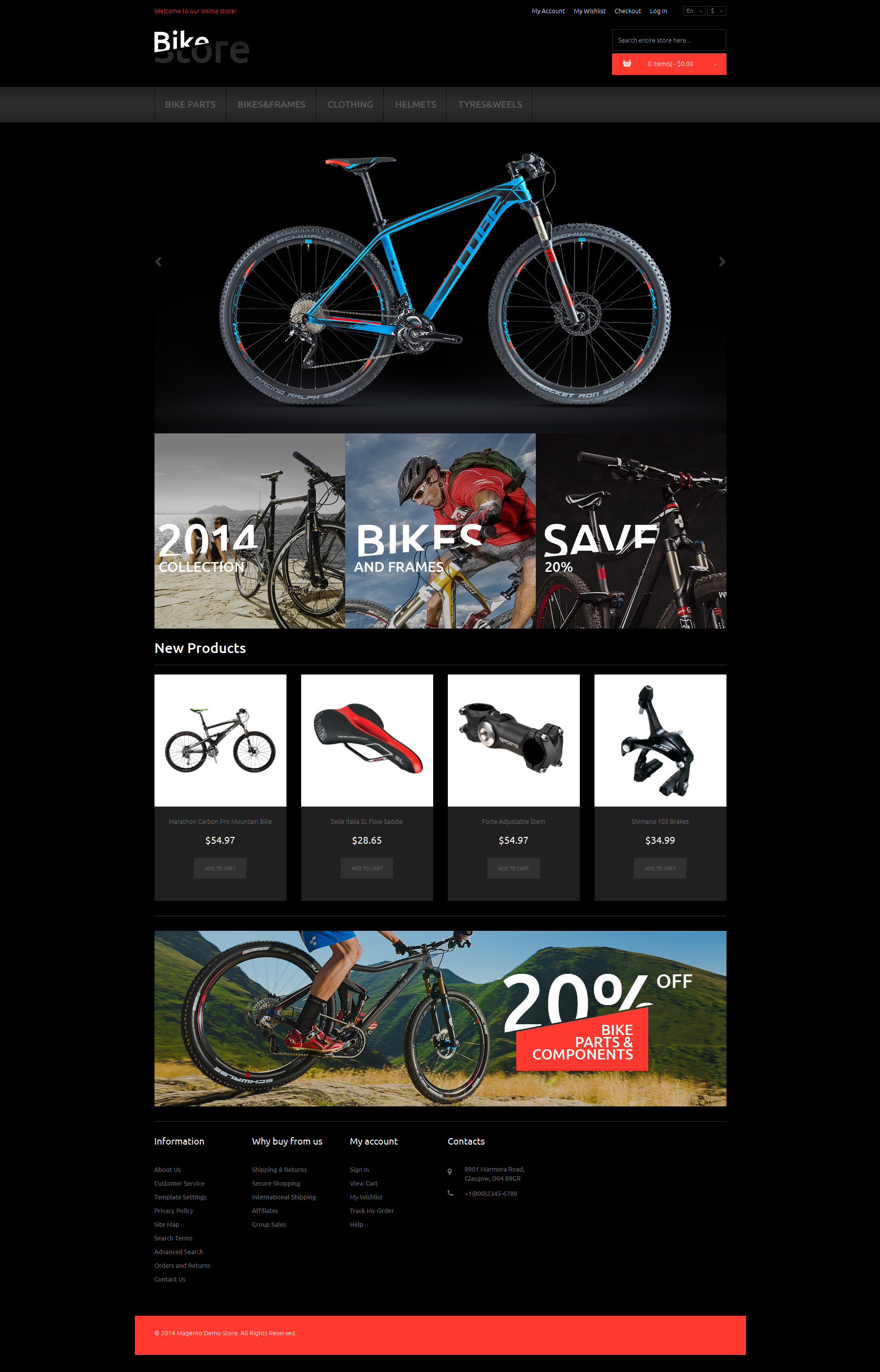 Bikes and Supplies Magento Theme