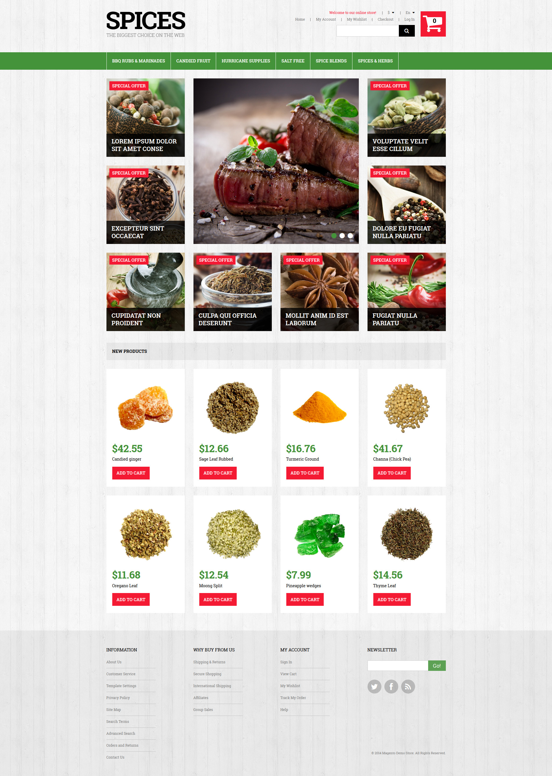 Spiced Dishes for Health Magento Theme
