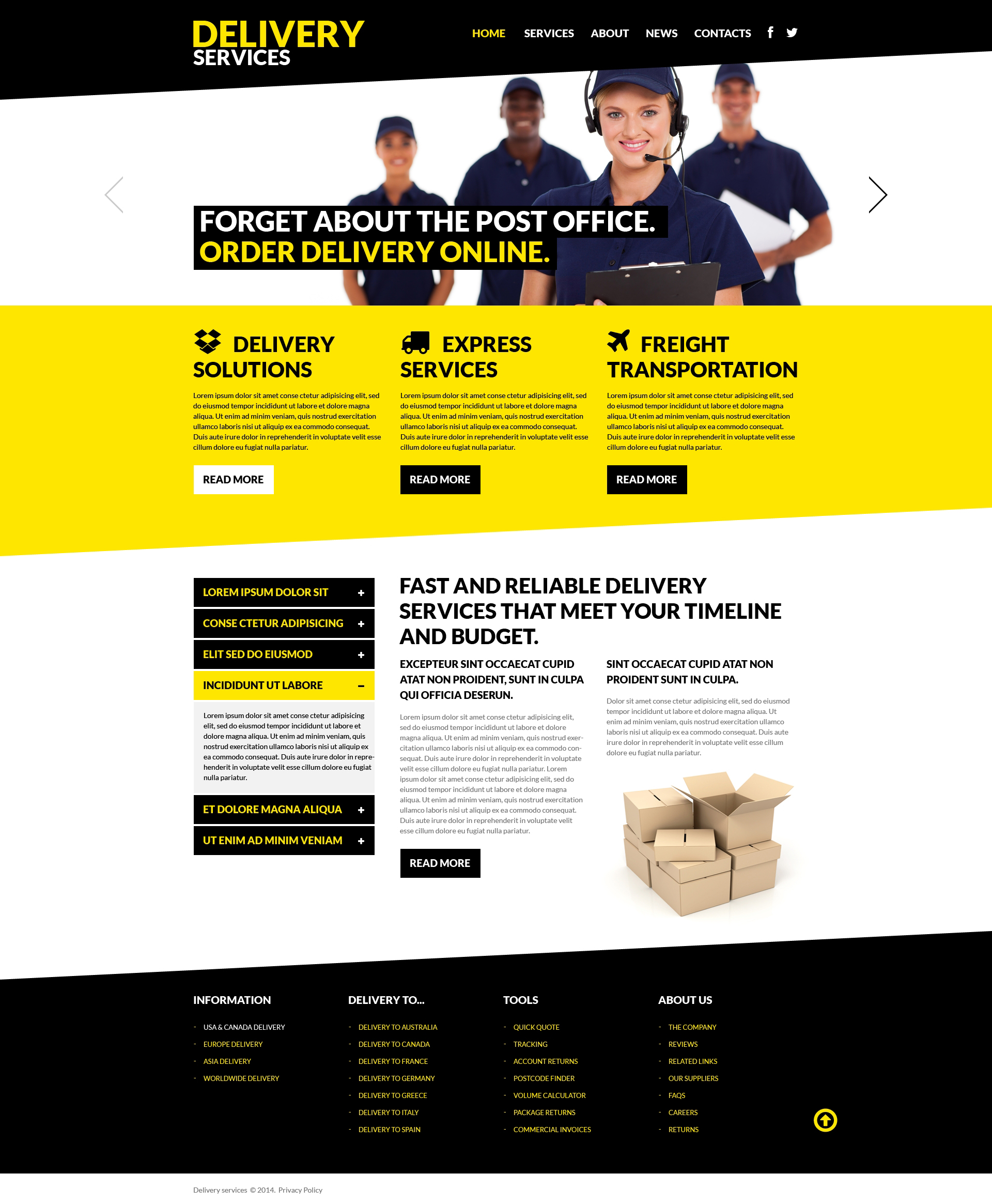 Template 50710 : Delivery Services Responsive Website