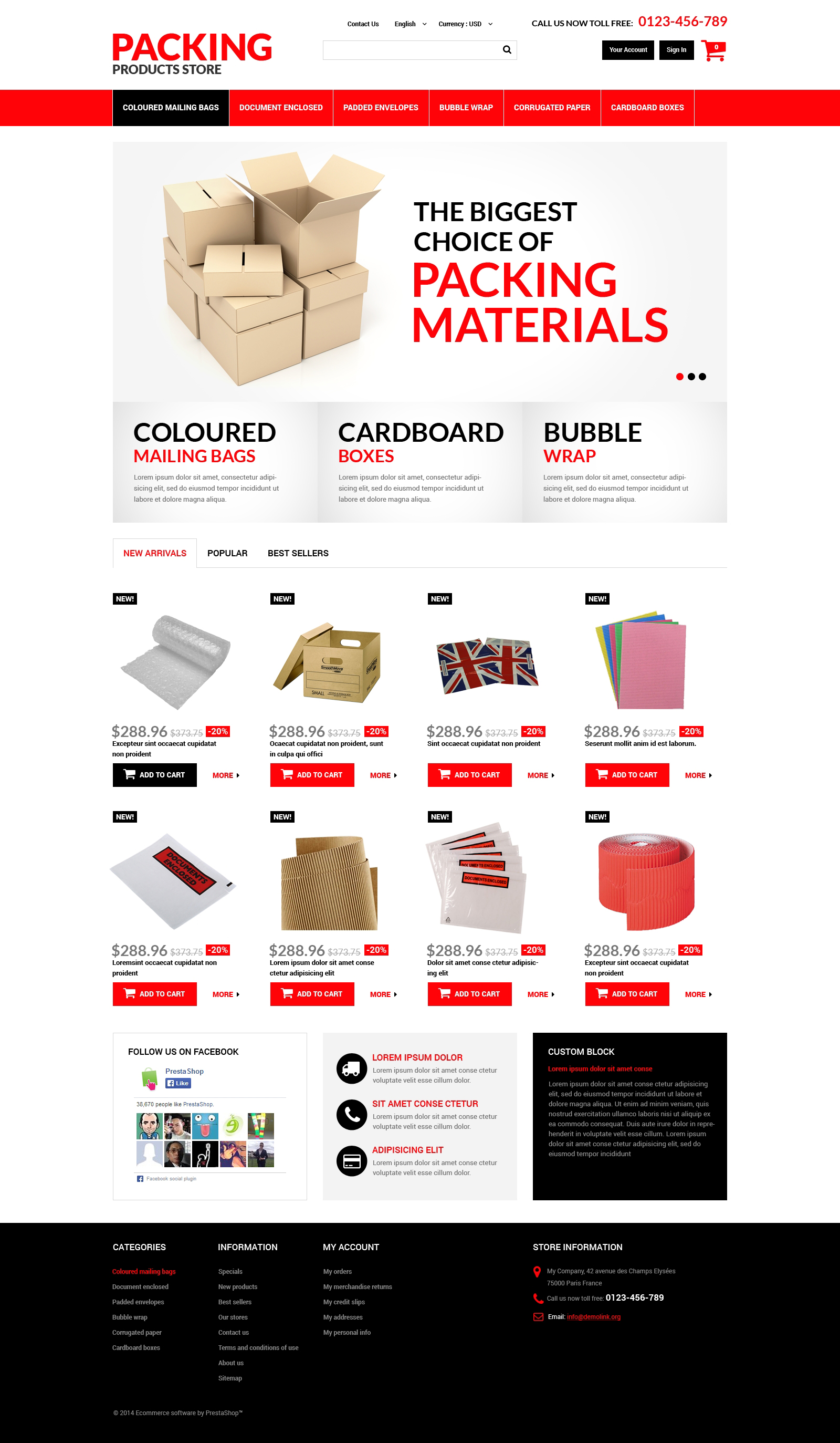 Packing Products PrestaShop Theme